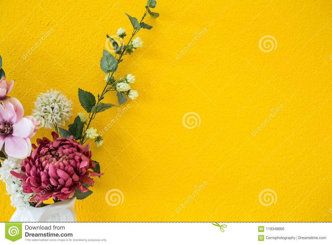 Yellow Wall Modern Interior Style With Colorful Flowers Background ...