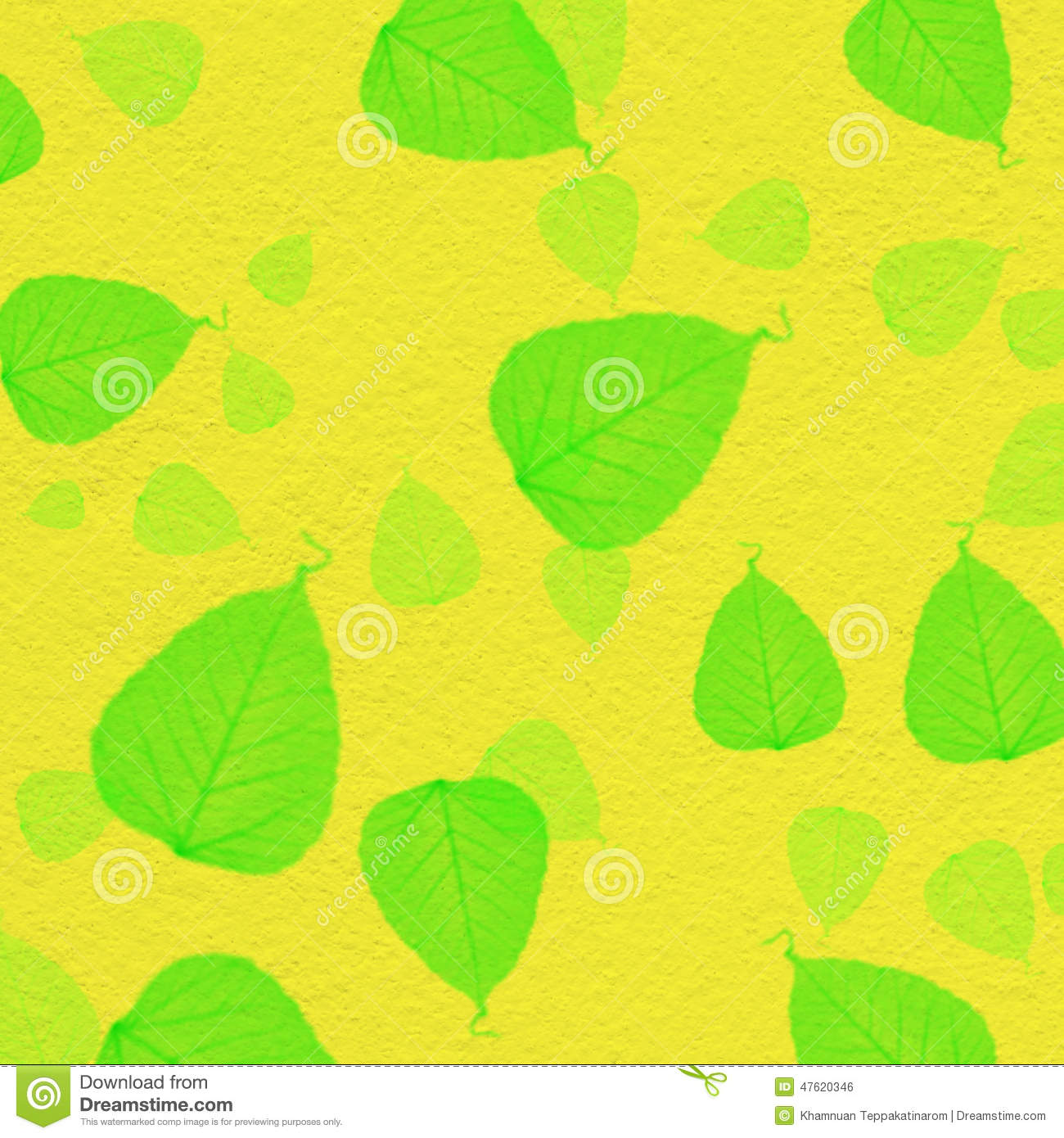 Yellow Wall Texture With Green Leaf Paint Stock Photo - Image of ...