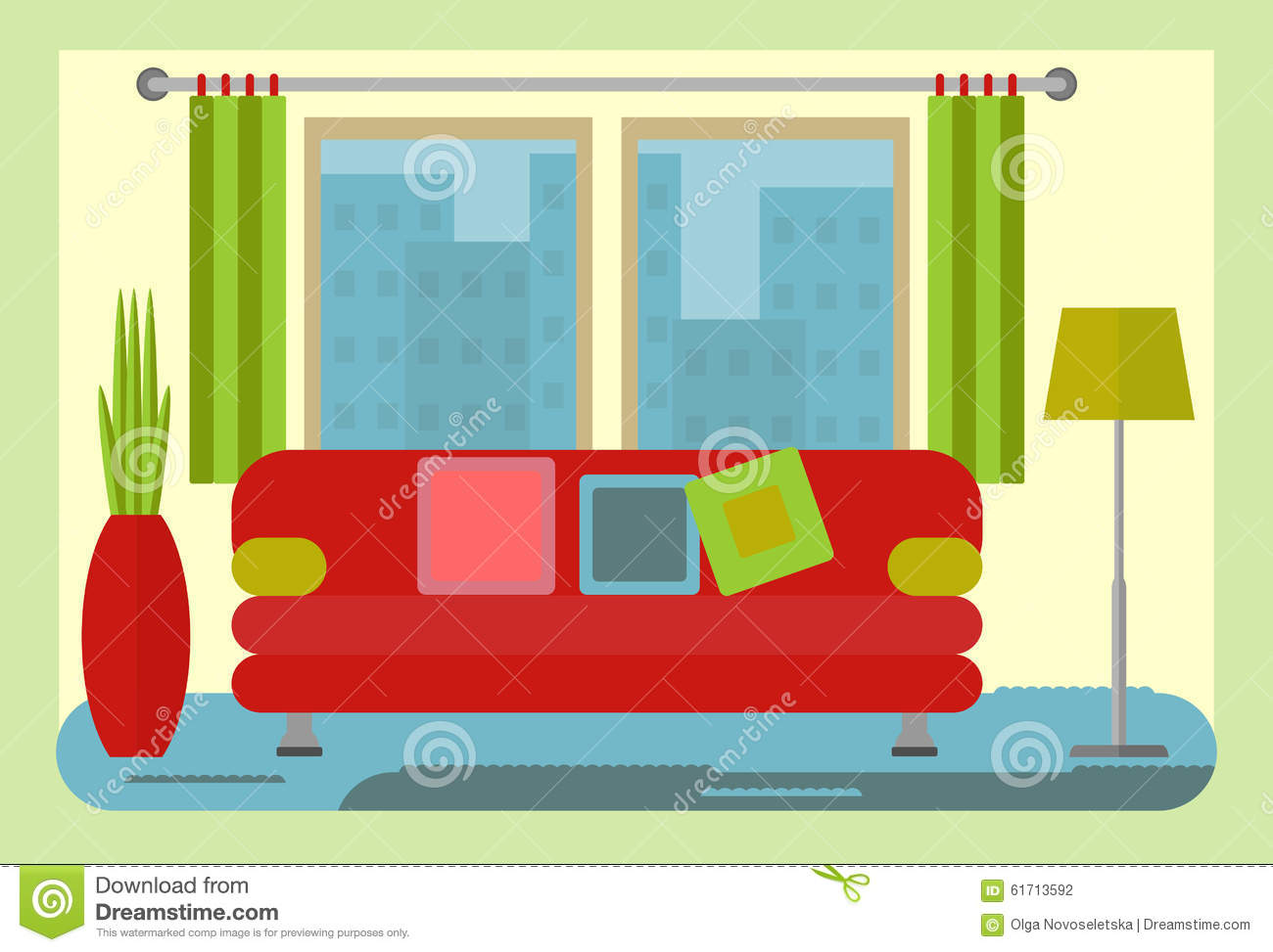 Green and yellow living room - Yellow Walls Living Room Interior With Red Sofa And Green Lamp