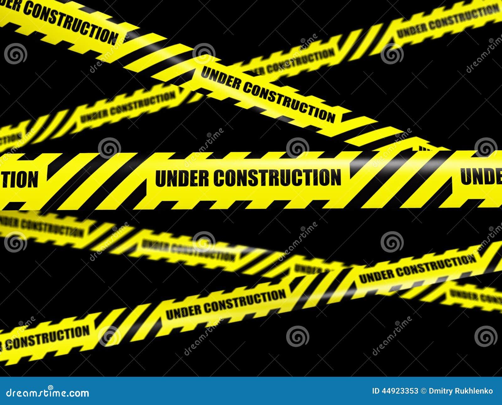 Yellow warning caution ribbon tape on black