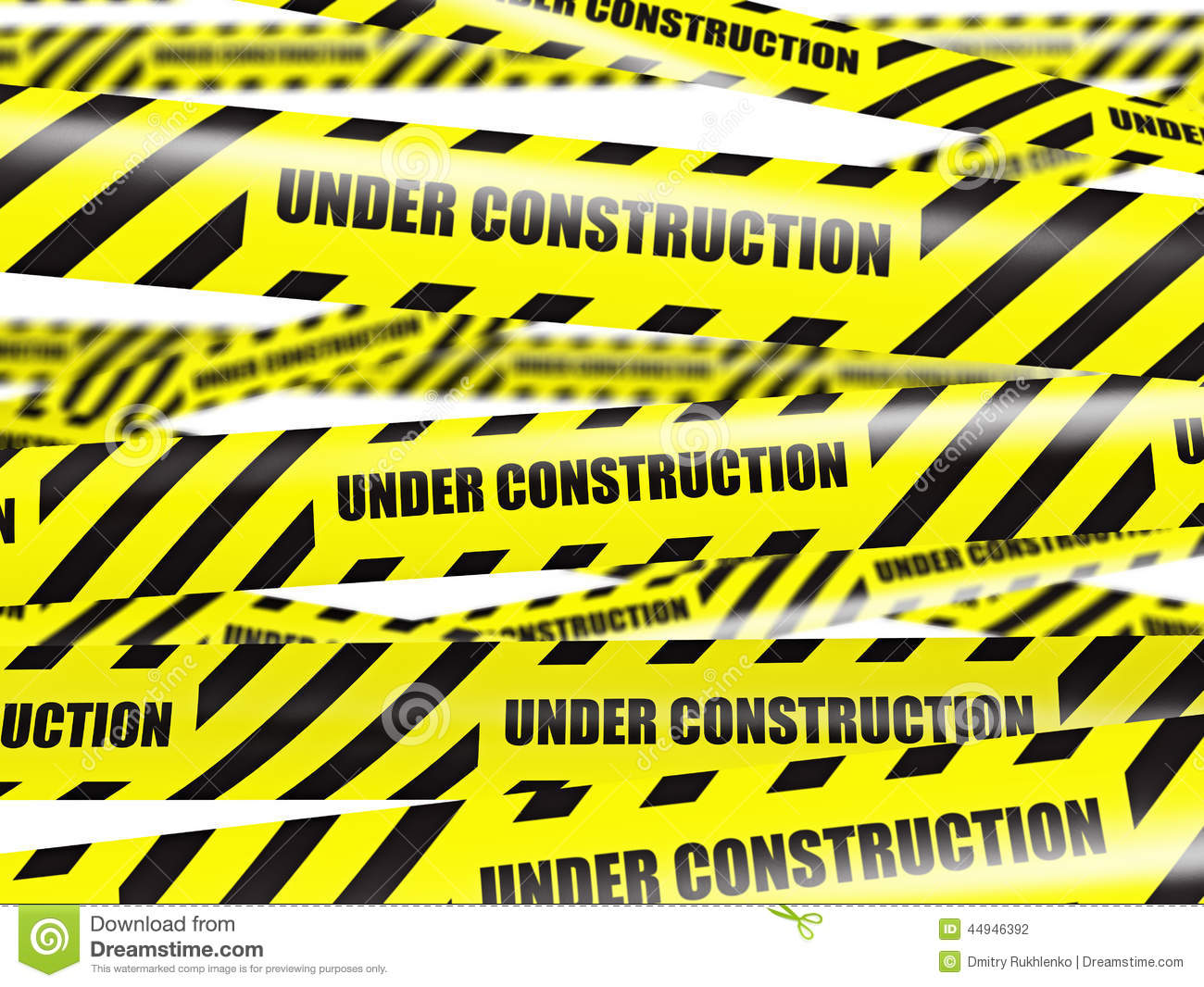 Under Construction Tape Background Yellow warning ...
