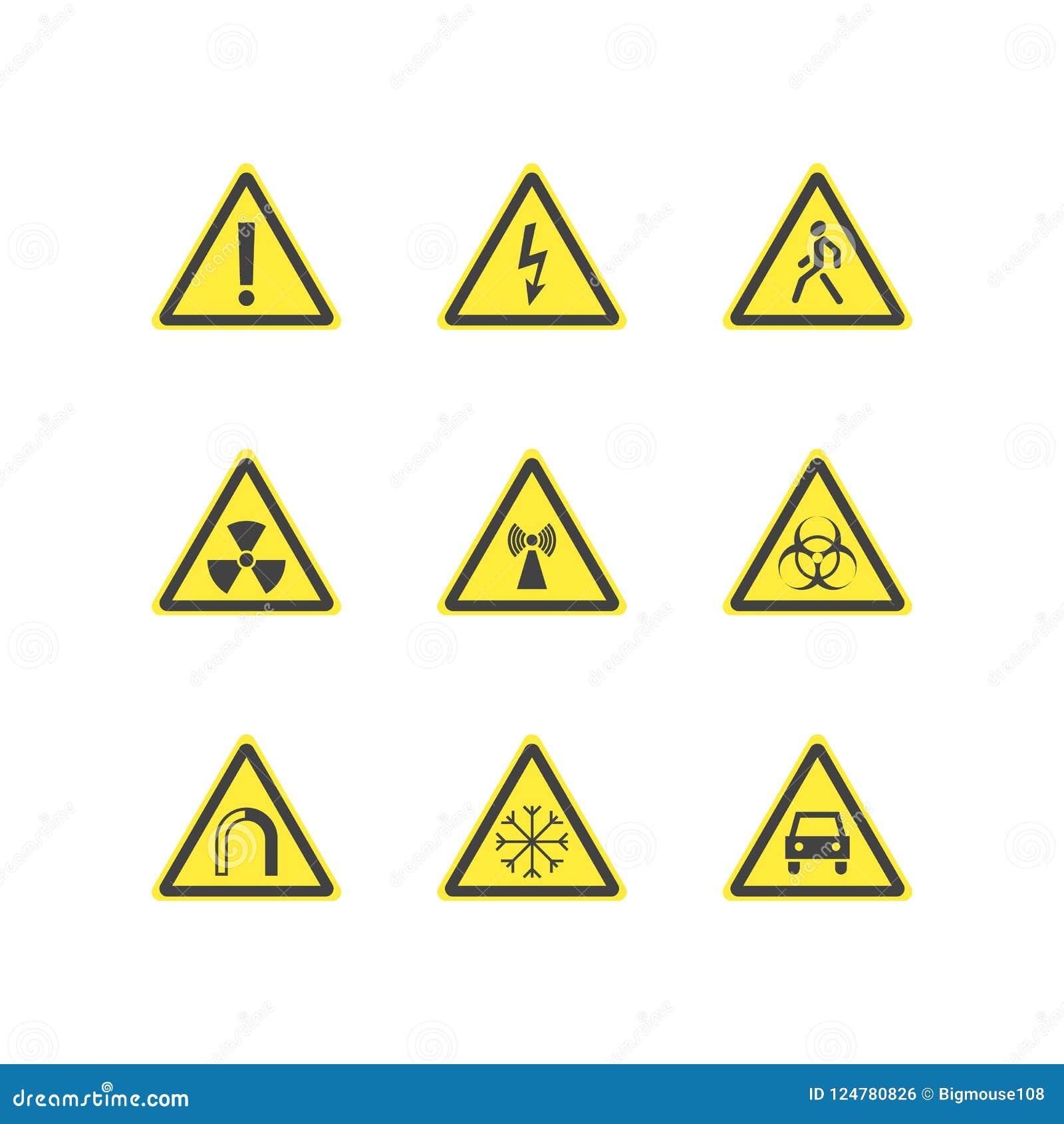 Yellow Warning Hazard Triangle Signs Set Vector Stock Vector