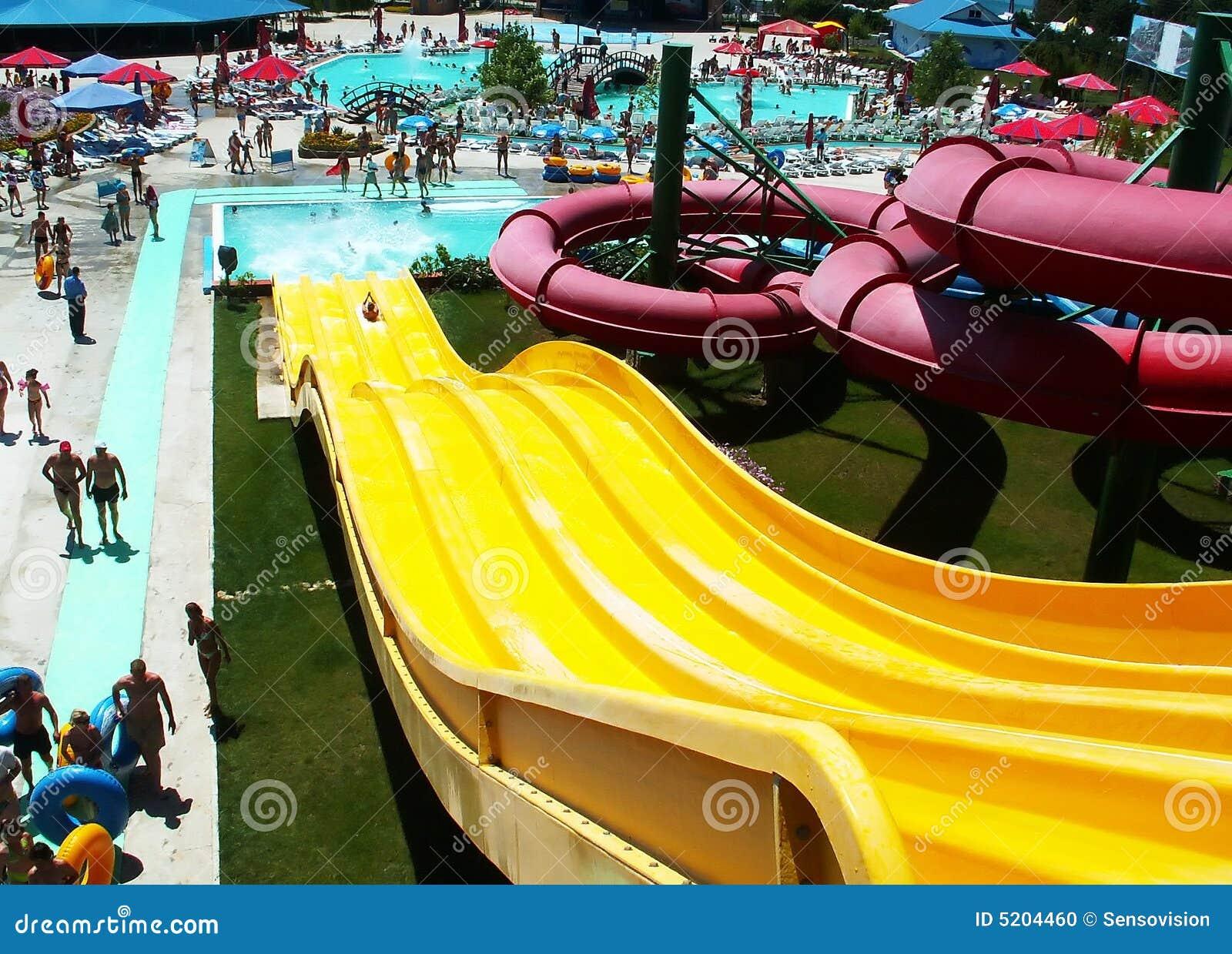 yellow water slide stock photo