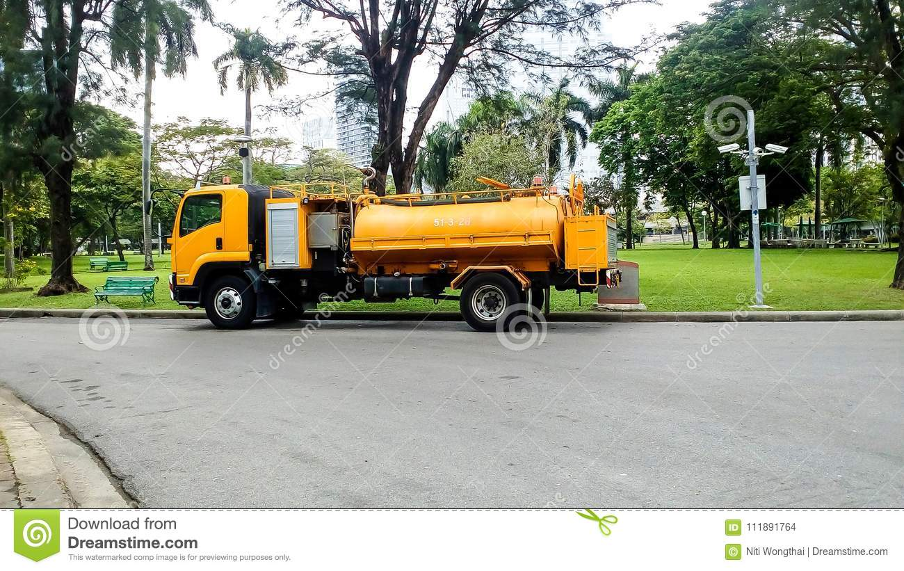 Yellow Water Truck For Official Use  Help People And Parked