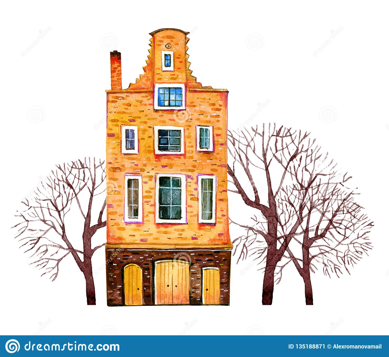 Yellow watercolor old stone europe house. Amsterdam building with trees. Hand drawn cartoon illustration