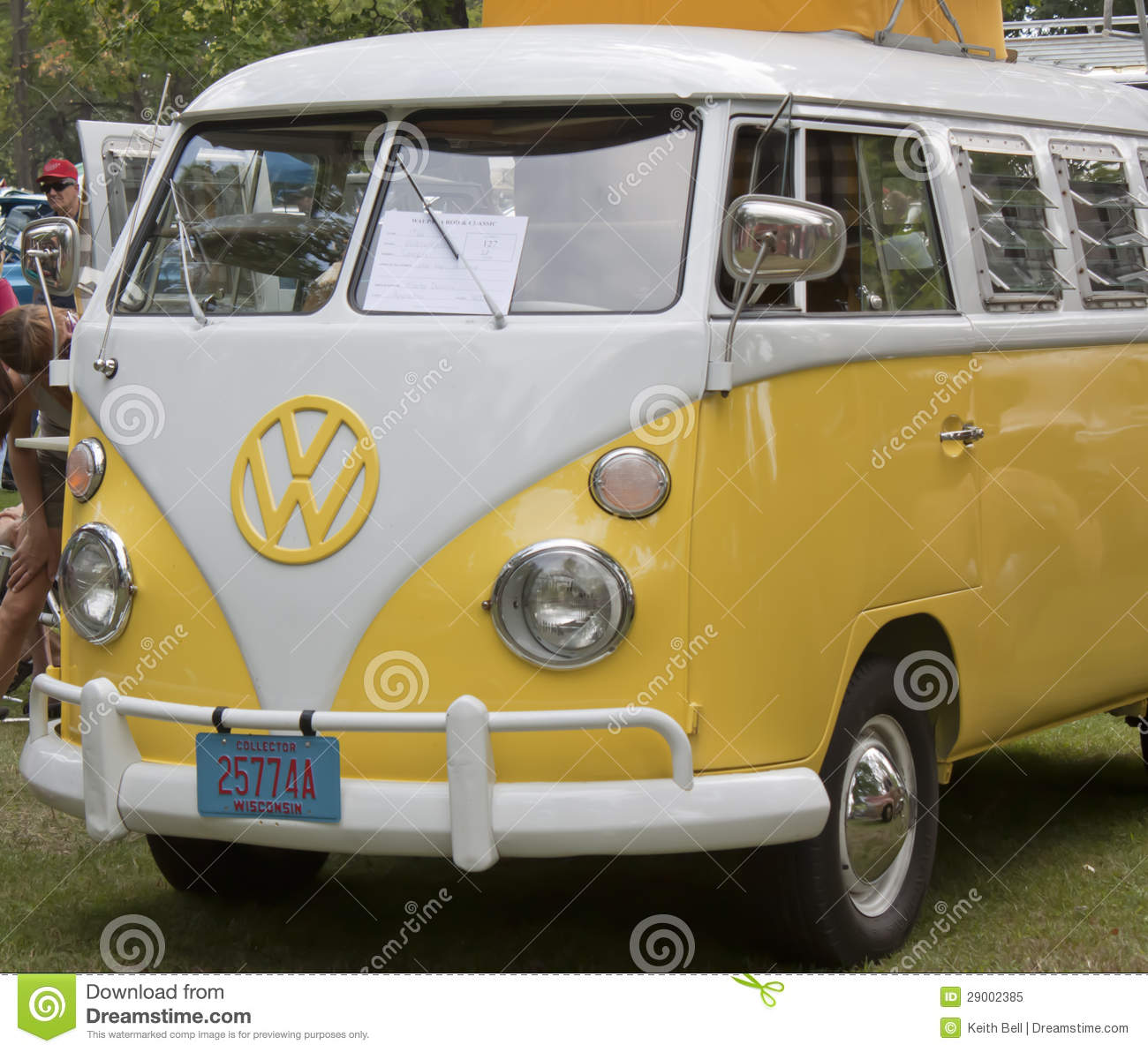 Yellow White 1966 VW Camper Front Side View