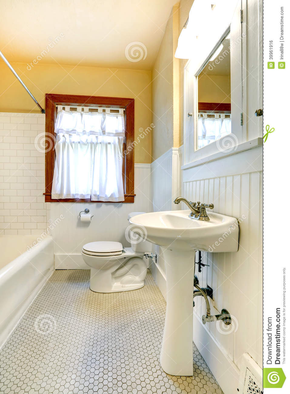 Yellow And White Bathroom With Window Stock Photo Image 39961916