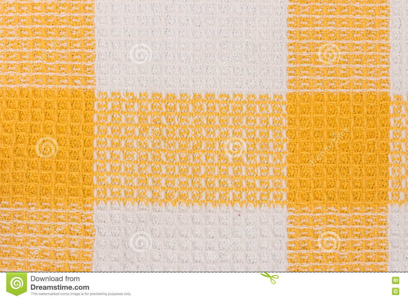 Yellow And White Chess Towel Fabric. Tablecloth Texture.