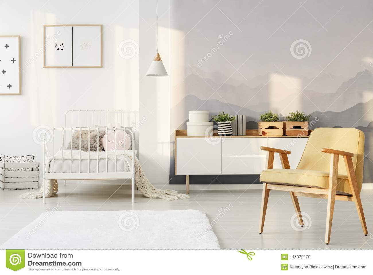 Download Yellow And White Child`s Bedroom Stock Photo   Image Of Apartment,  Pattern