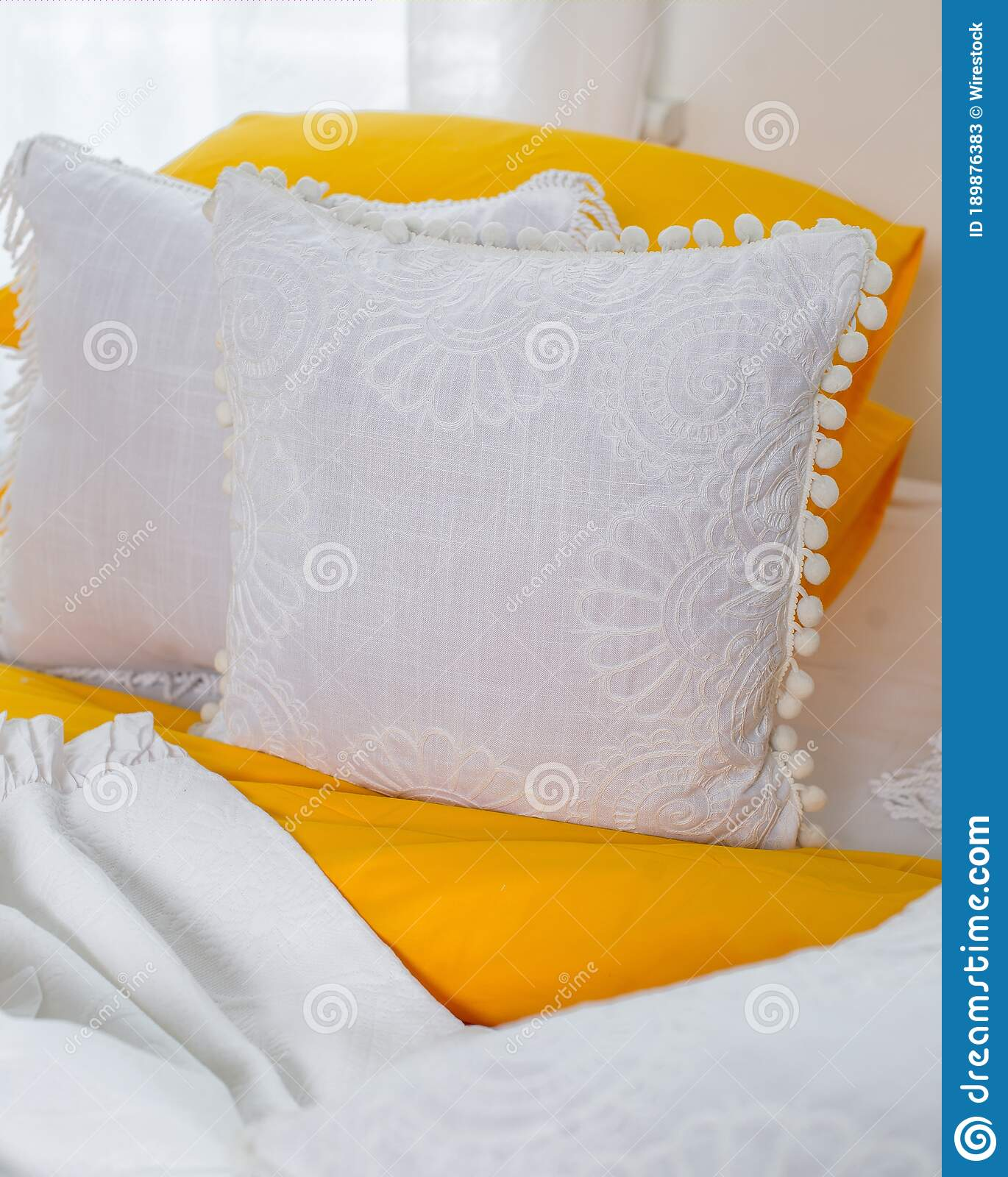 Yellow And White Decorative Pillows In The Bedroom Stock Image Image Of Indoors White 189876383