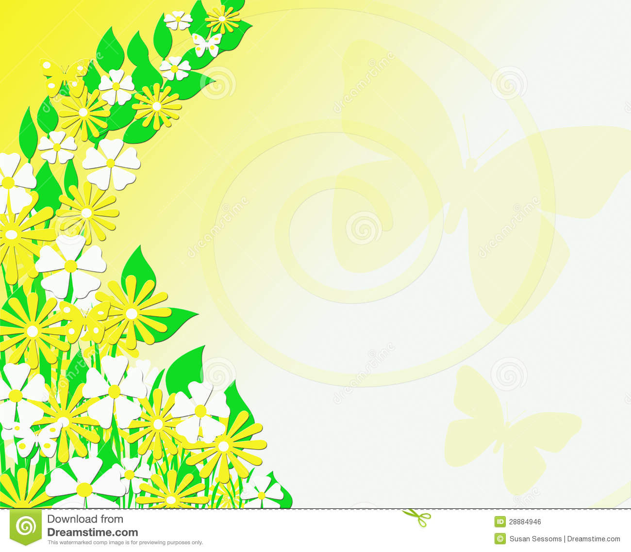 yellow and white floral butterfly background stock