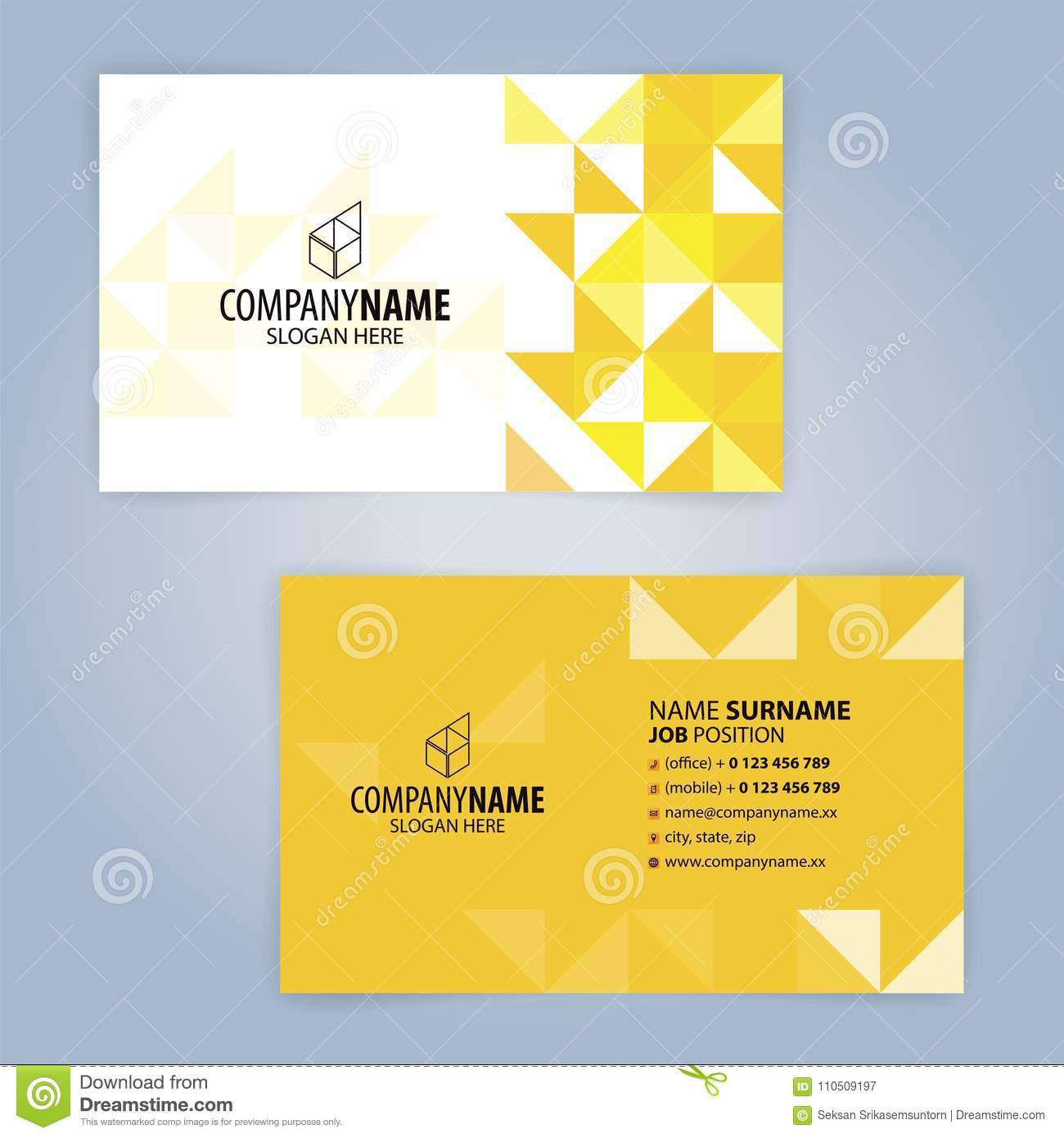 Yellow And White Modern Business Card Template Stock Vector