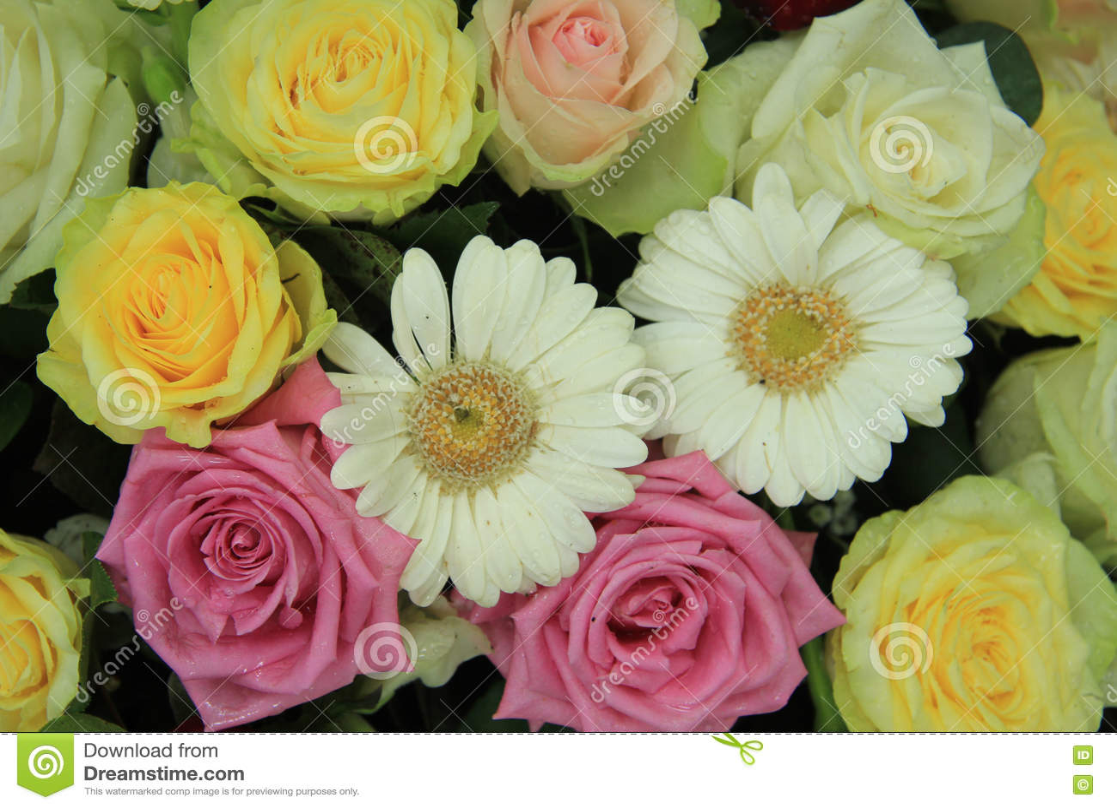 Yellow White And Pink Wedding Flowers Stock Photo Image Of Yellow