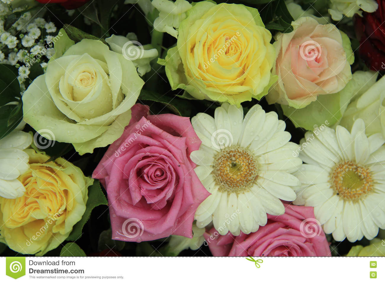 Yellow White And Pink Wedding Flowers Stock Photo Image Of Petals