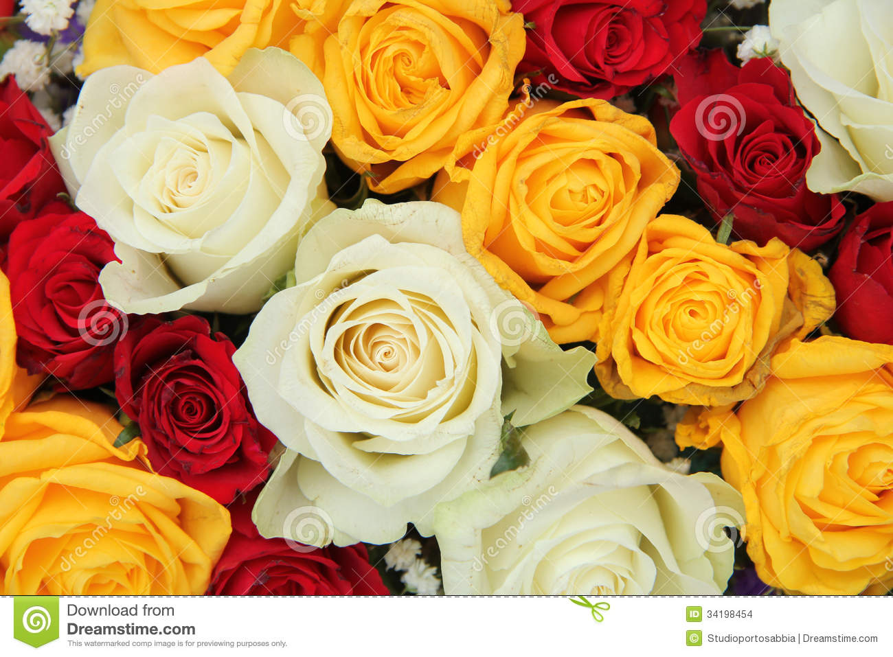 Yellow, White And Red Roses In A Wedding Arrangement Stock Photo ...