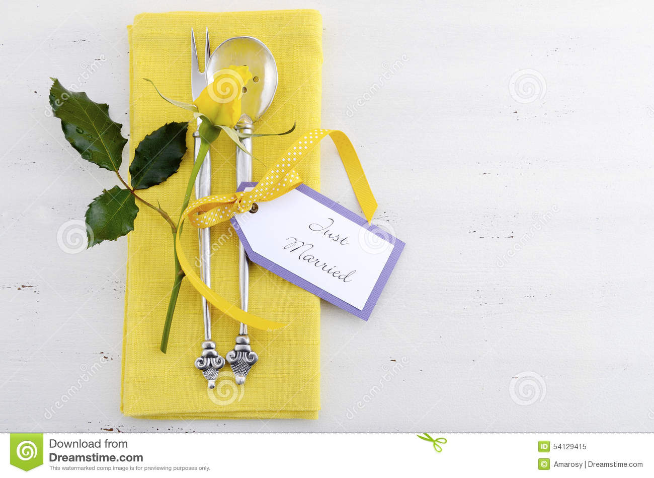 Yellow And White Theme Wedding Table Place Setting. Stock Image ...