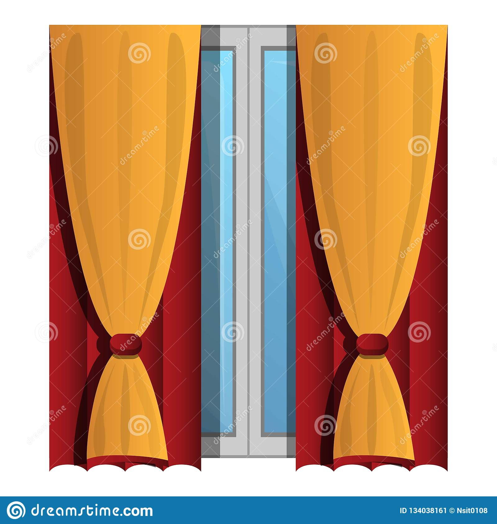 Yellow Window Curtains Icon, Cartoon Style Stock Vector