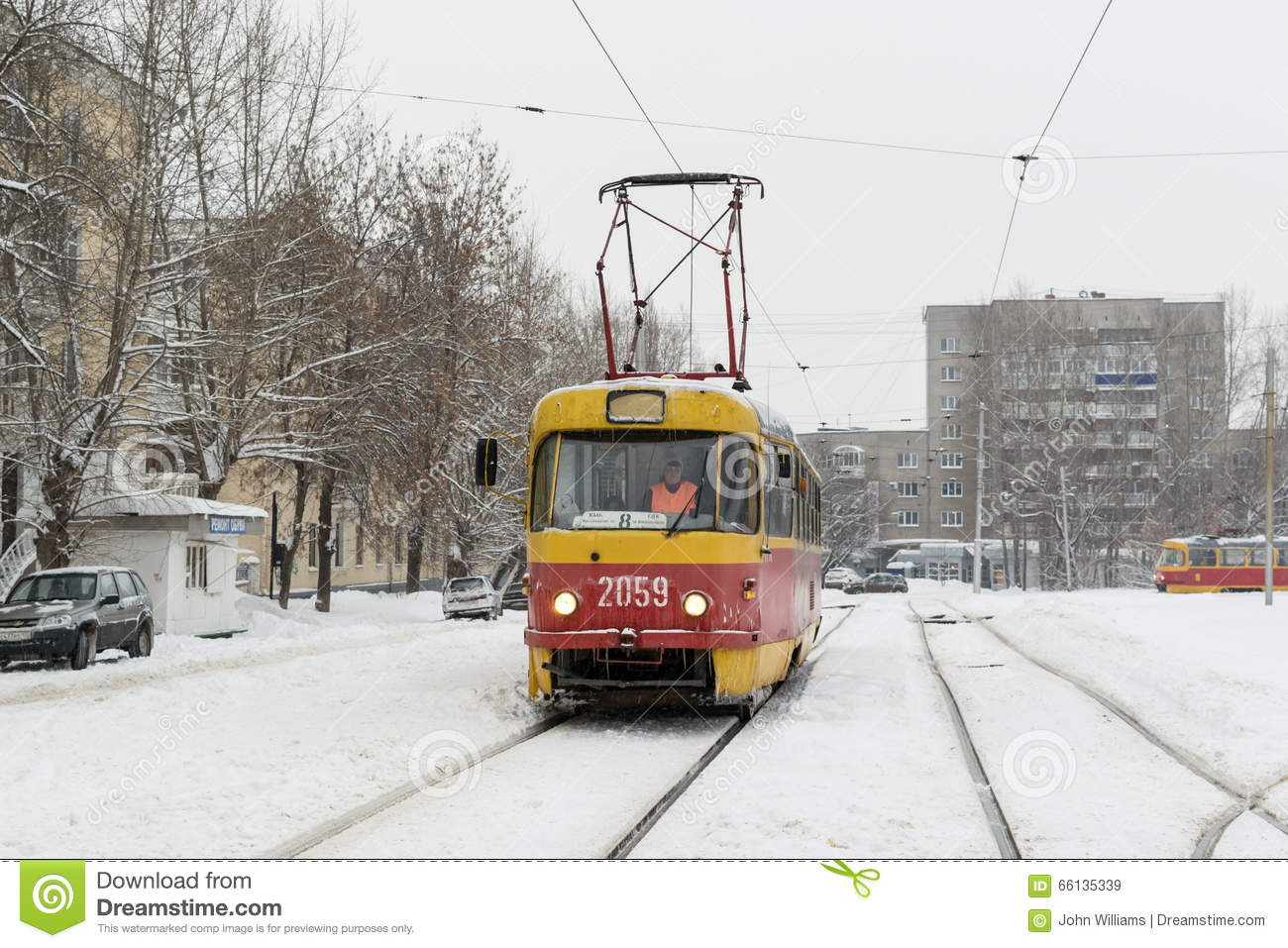 Yellow Winter Tram And Snow In Russian Winter Editorial
