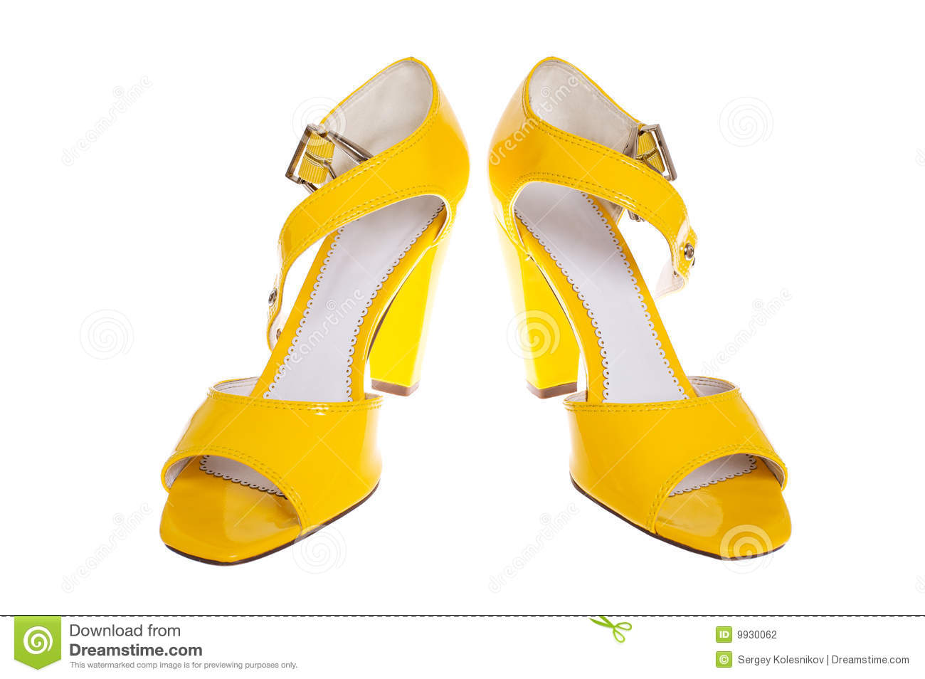 Yellow woman shoes isolated on white background