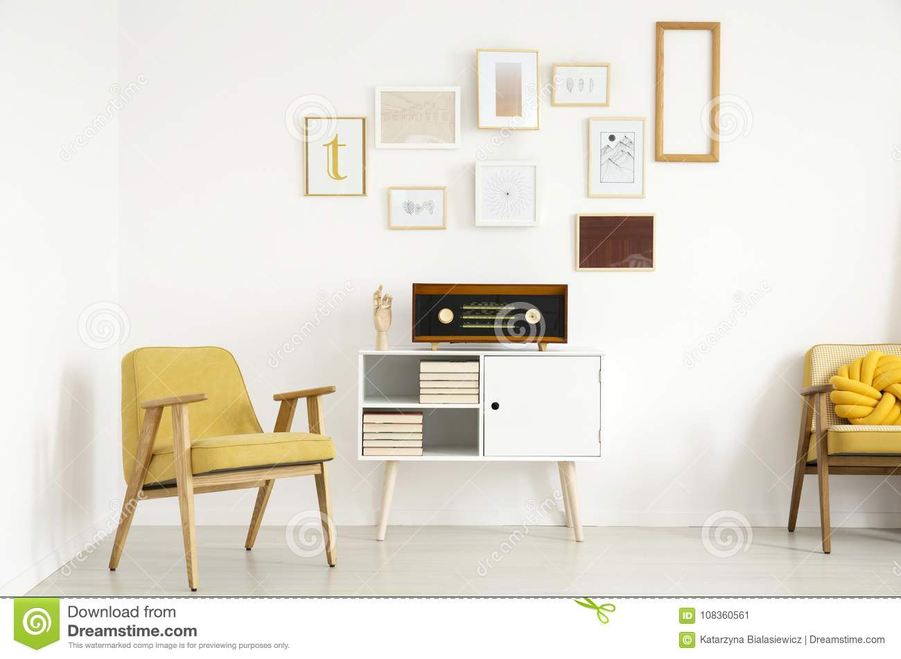 Yellow warm living room stock image. Image of armchair - 108360561