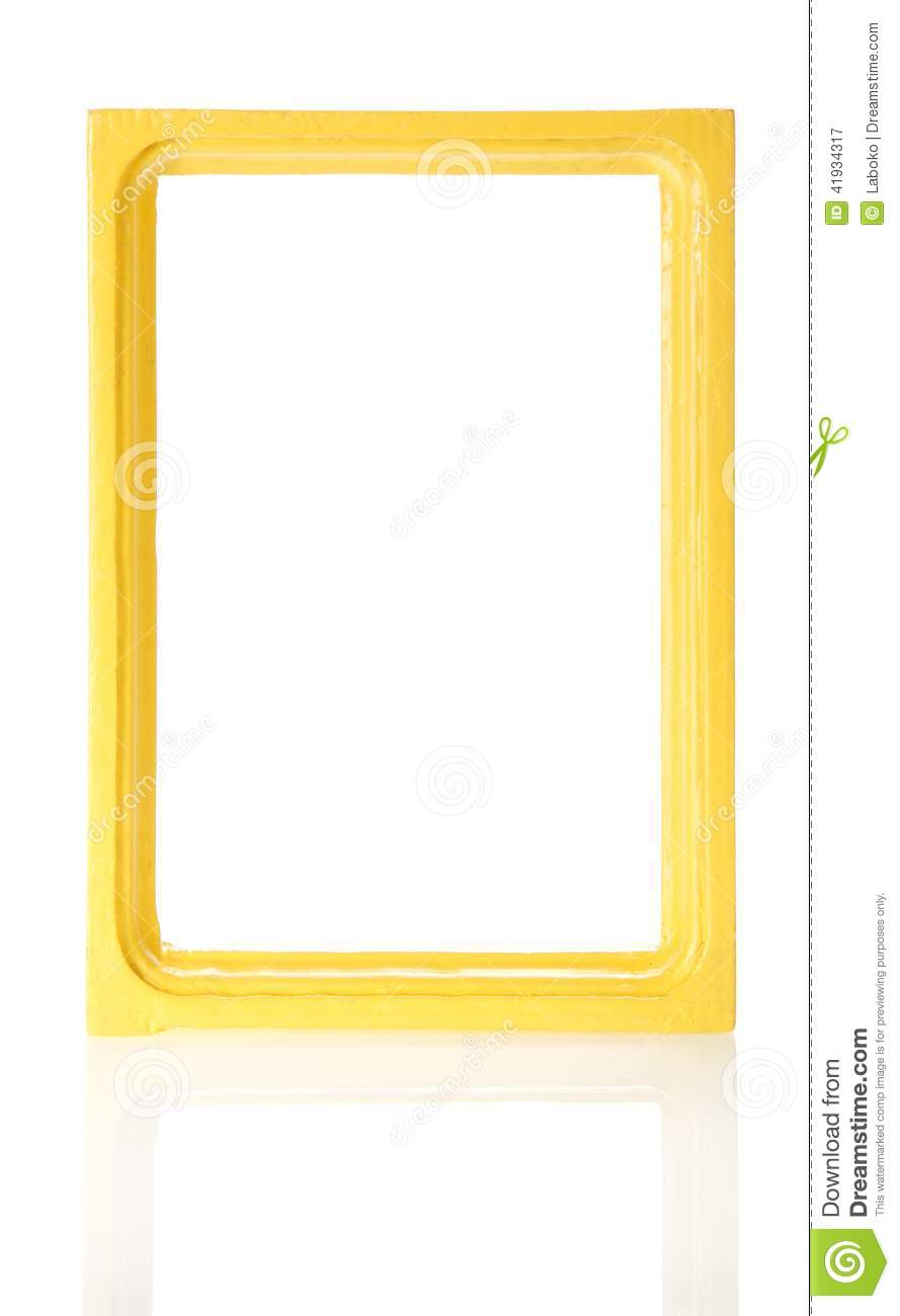 Yellow wooden frame for the photos