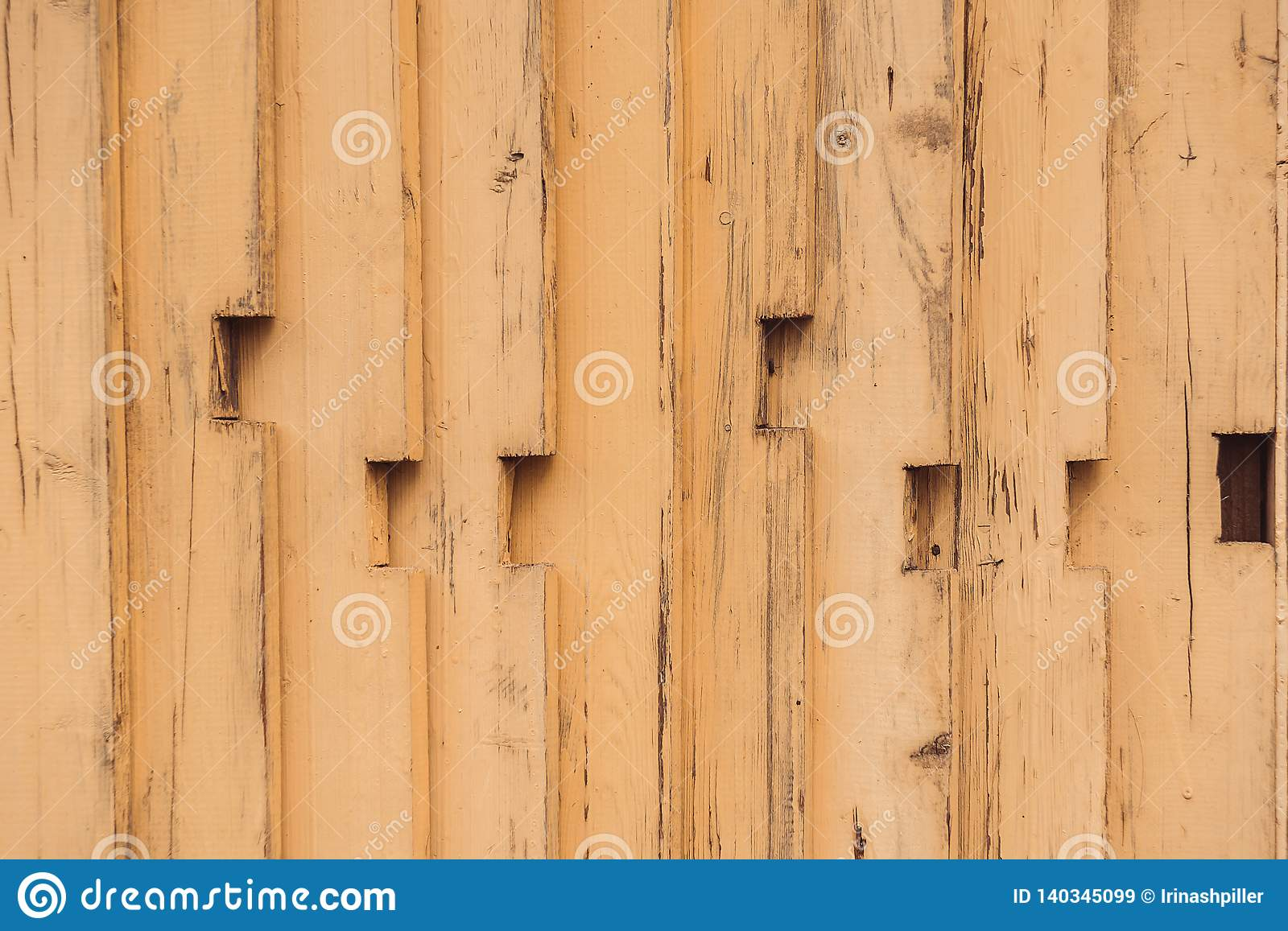 Yellow wooden old plank background. Old wooden texture