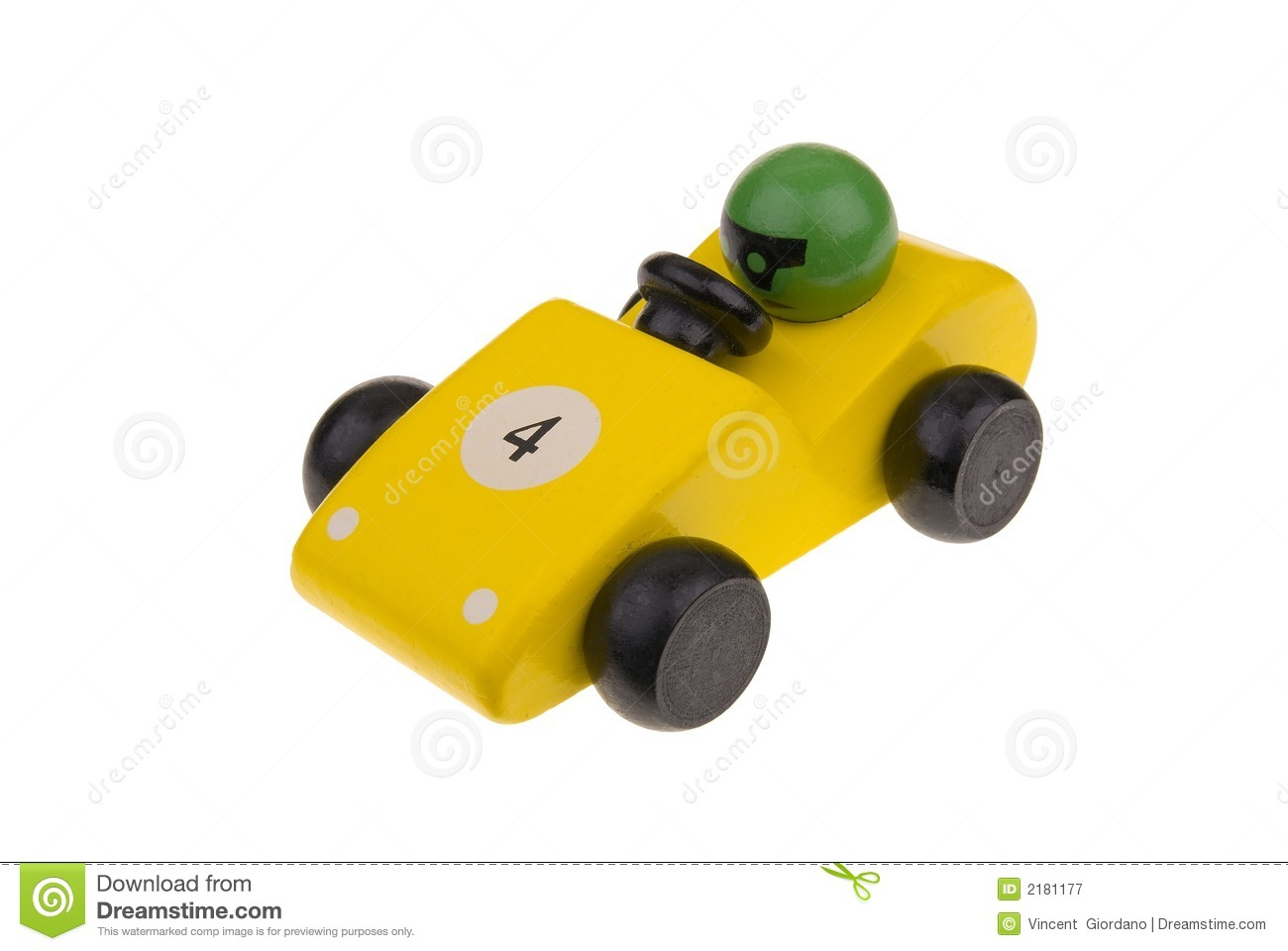 Yellow Wooden Toy Race Car Royalty Free Stock Photography