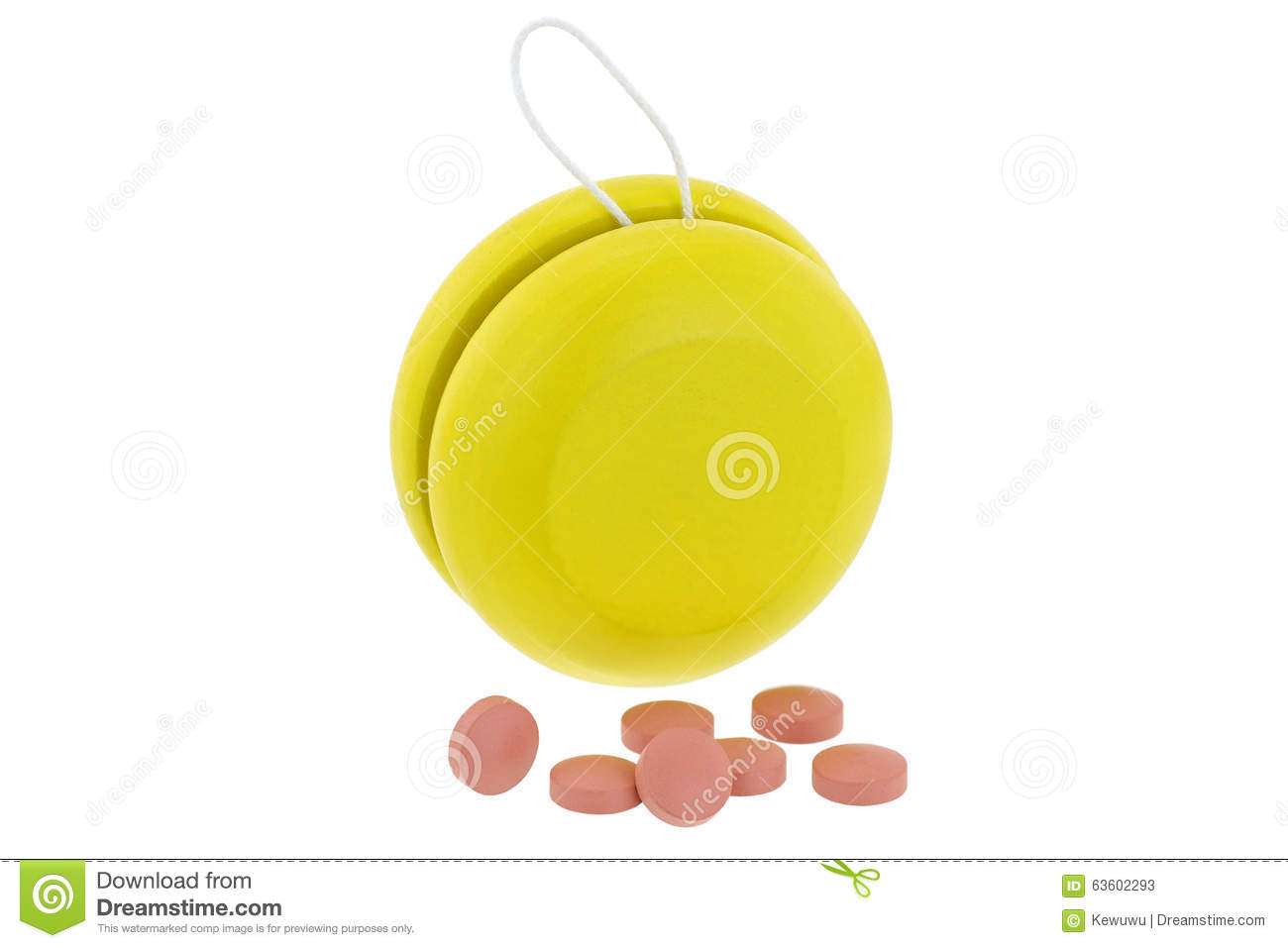 Yellow YoYo next to pink medicines