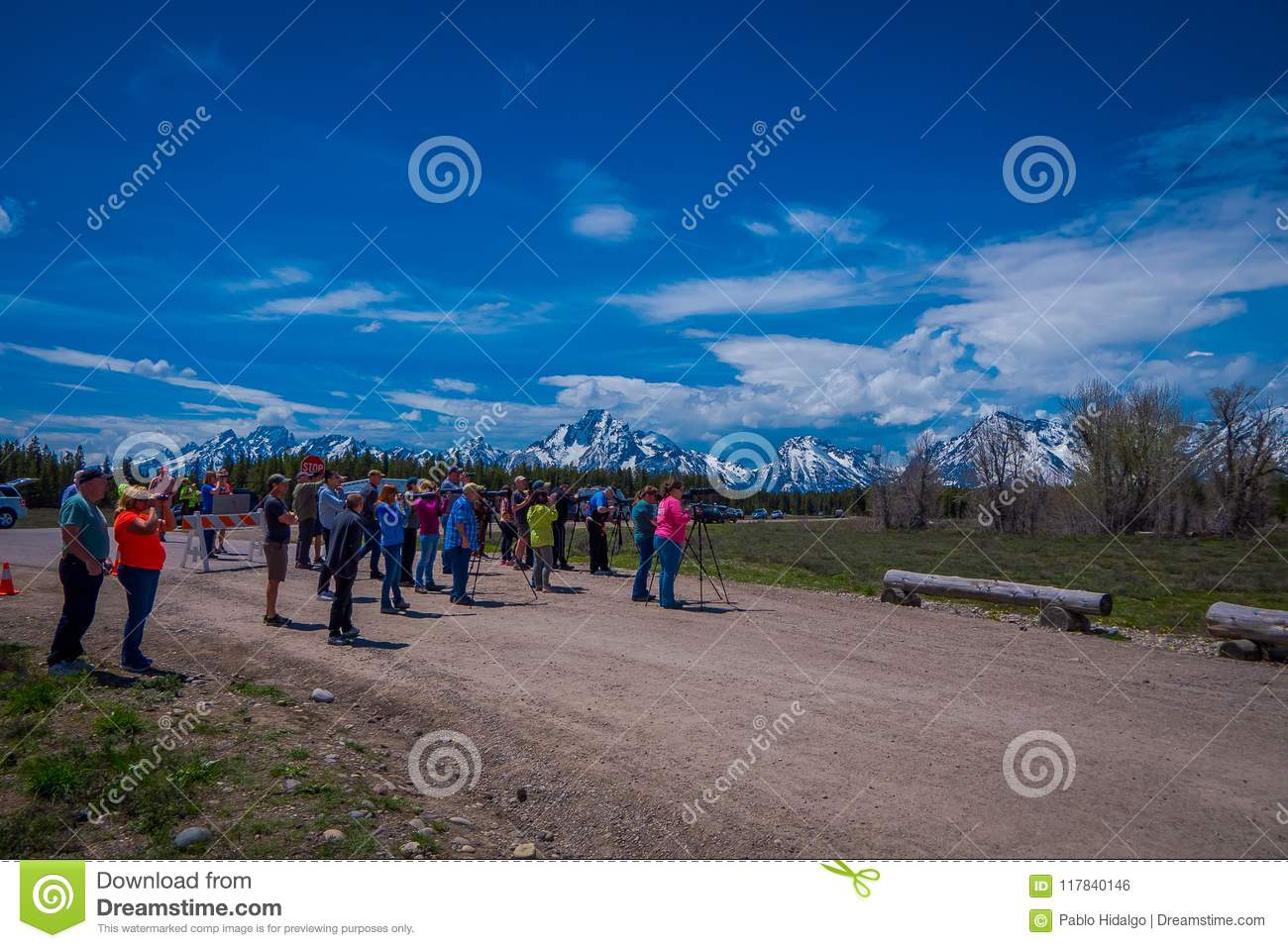 YELLOWSTONE MONTANA USA MAY 24 2018 Unidentified People Most Them Photographers Taking Pictures And Enjoying The Landscape Of Grand Teton National Park