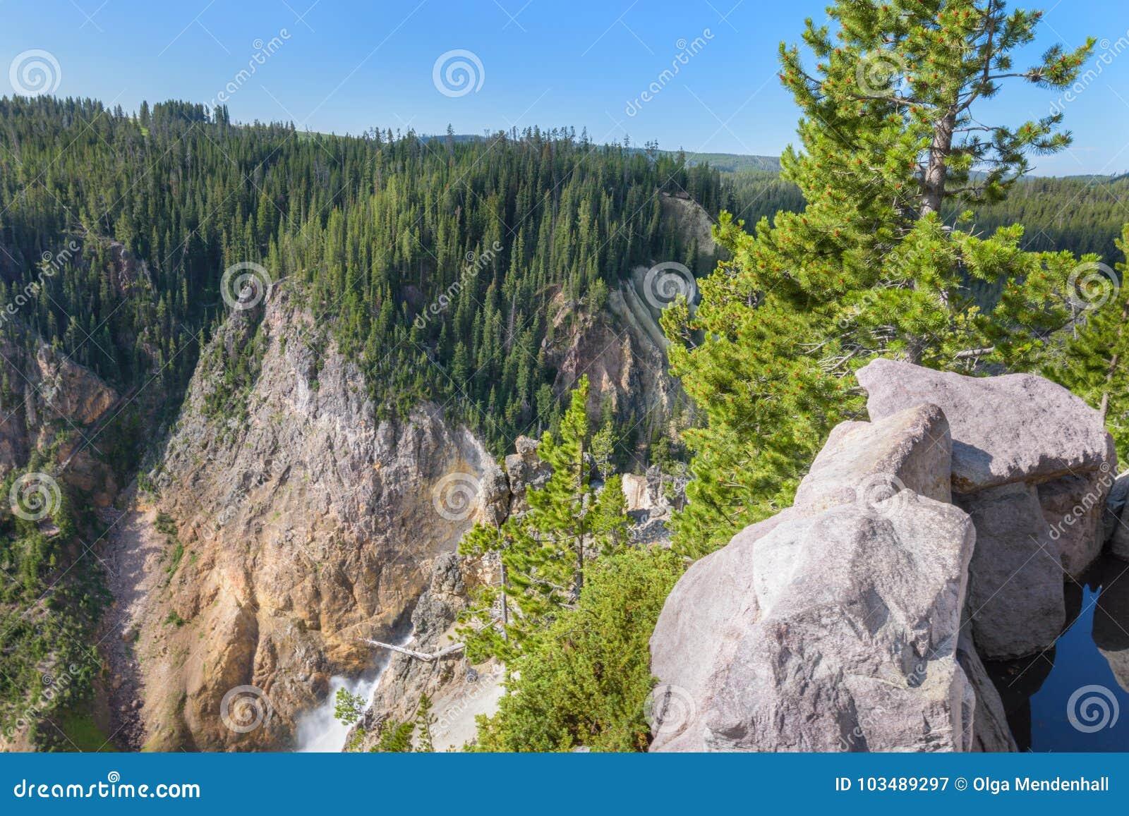 Yellowstone mountain Lower falls waterfall landscape, Wyoming USA
