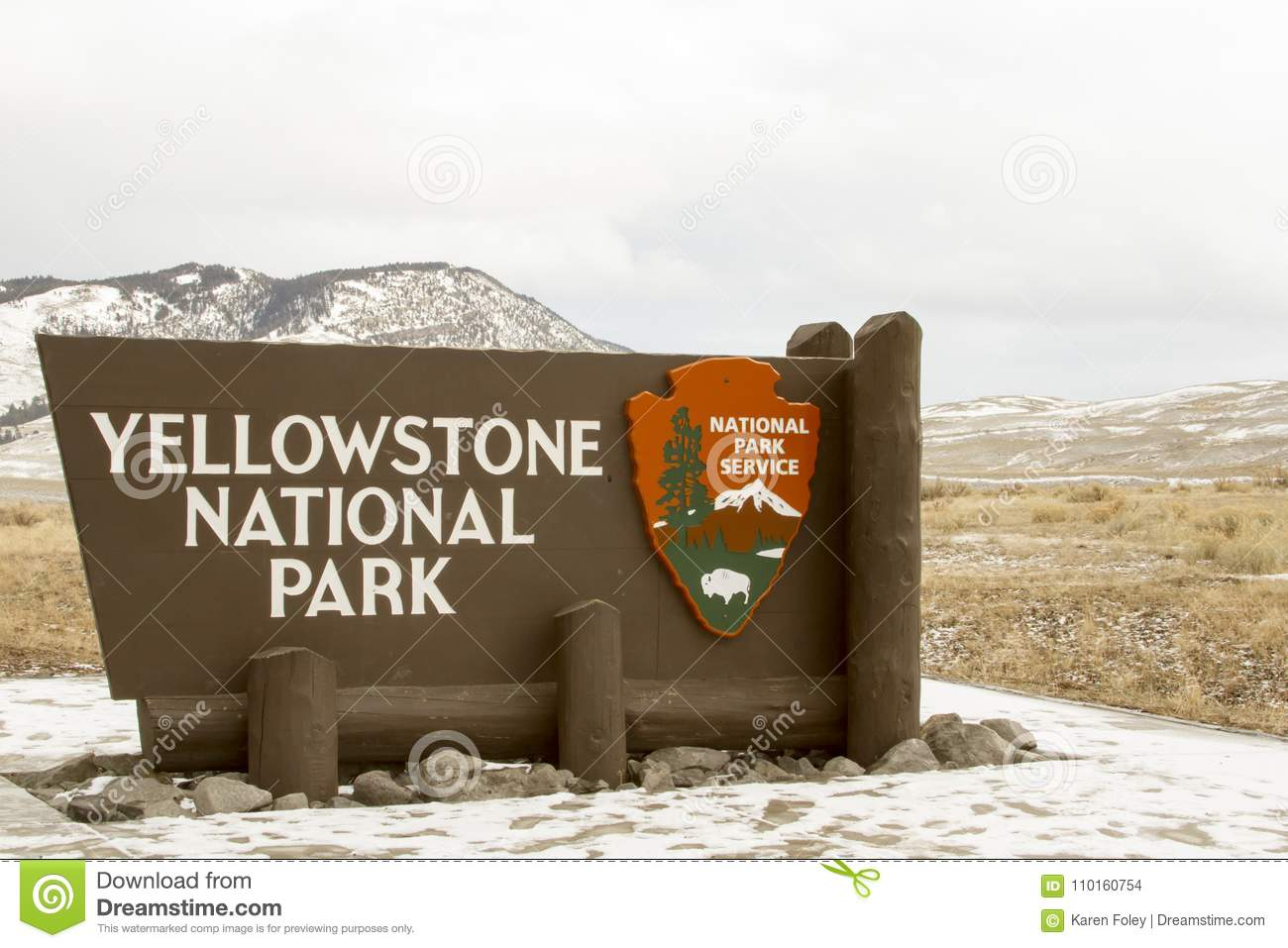 Yellowstone National Park Sign At Entrance In Wyoming In