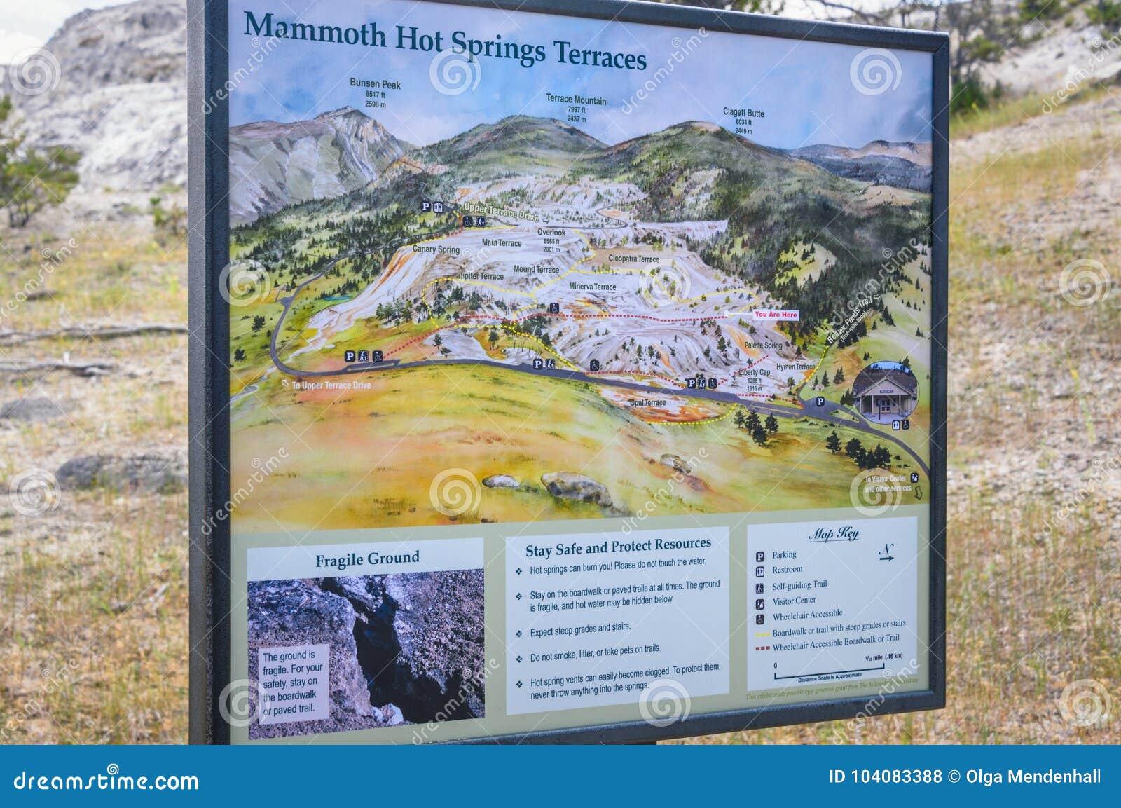 Yellowstone Karte.Yellowstone Nationalpark Wyoming Usa 17 Juli 2017 Mammoth Hot