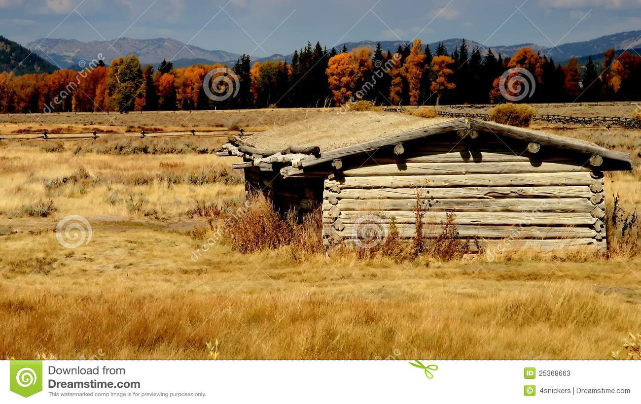 Yellowstone Old West Log Cabin Stock Image Image Of
