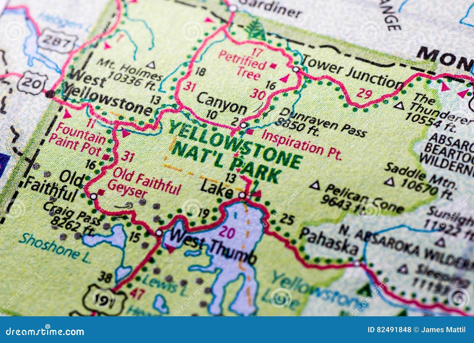 Yellowstone Karte.Yellowstone Park Auf Einer Karte Stockfoto Bild Von Abstand