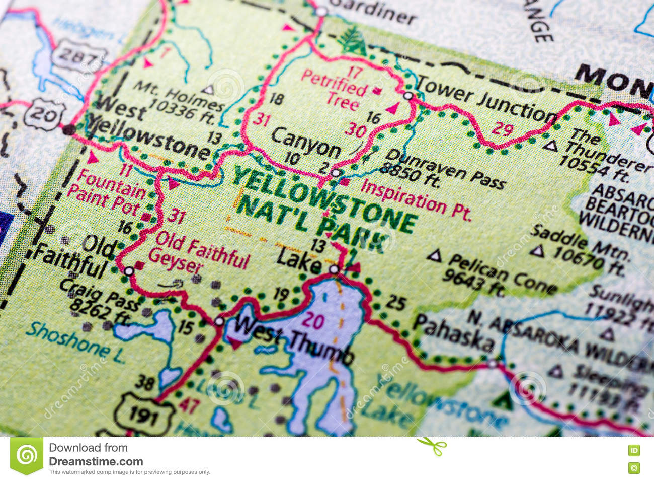 Yellowstone Park on a Map stock photo. Image of directions ...