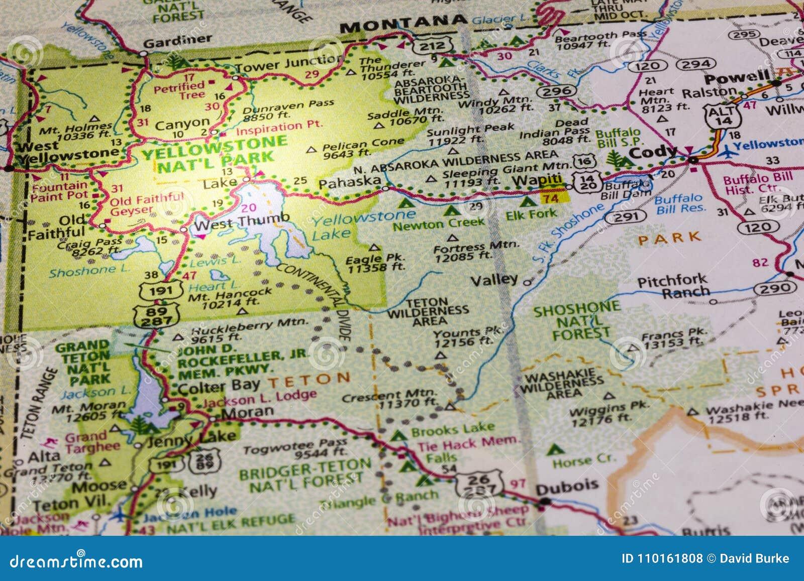 Yellowstone Park Map Spotlight Editorial Stock Photo - Image of ...