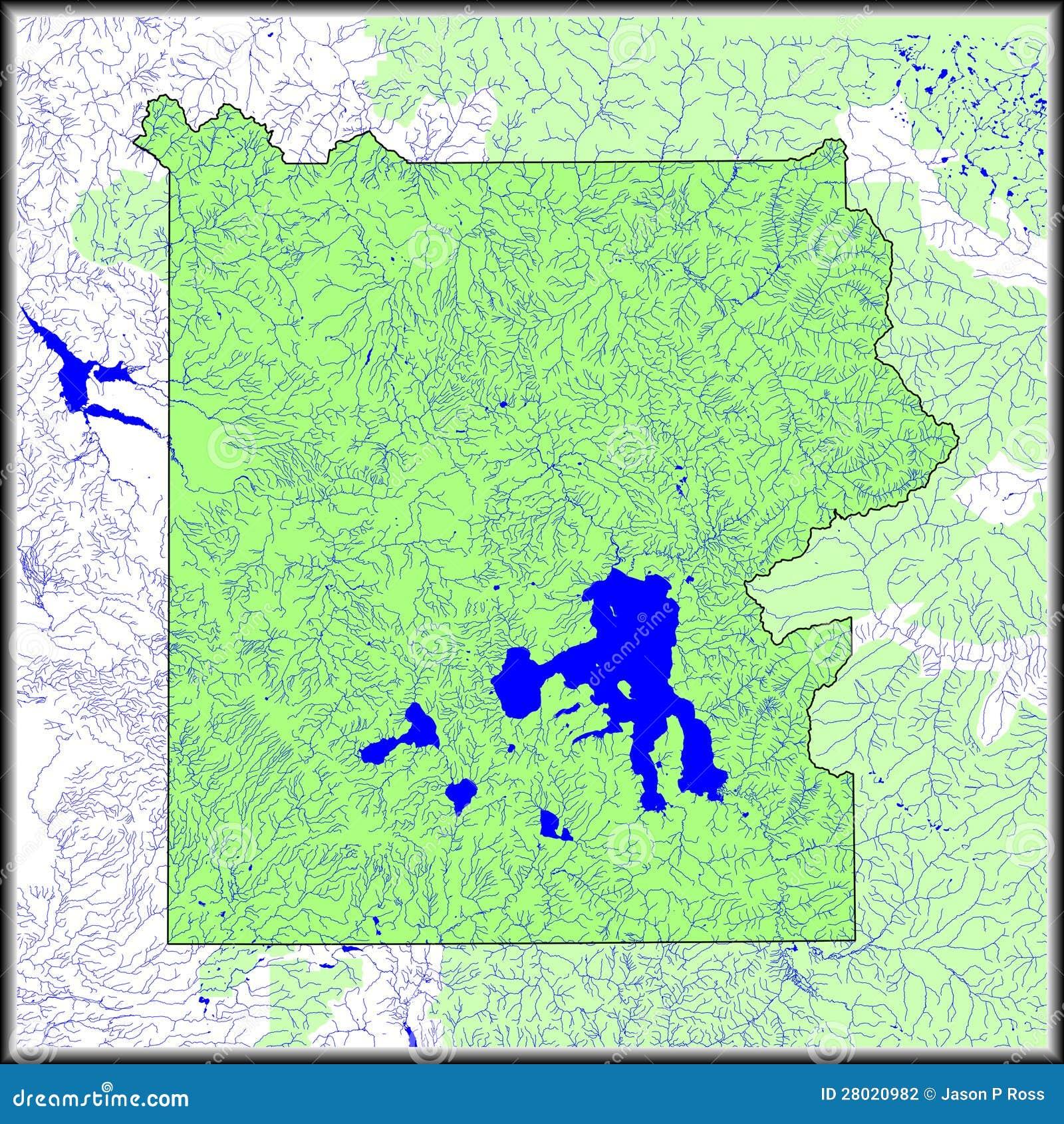 Yellowstone Karte.Yellowstone Wasser Kennzeichnet Karte Stock Abbildung Illustration