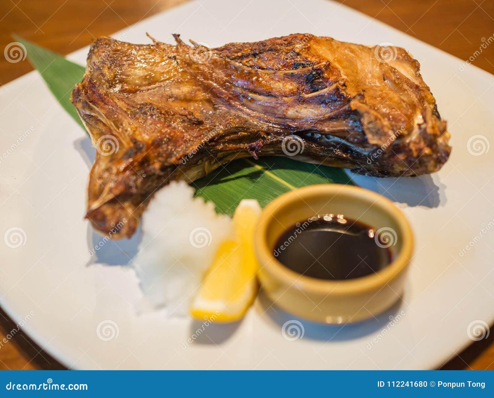 Yellowtail Collar Fish Of Hamachi Kama Japanese Food Stock Photo