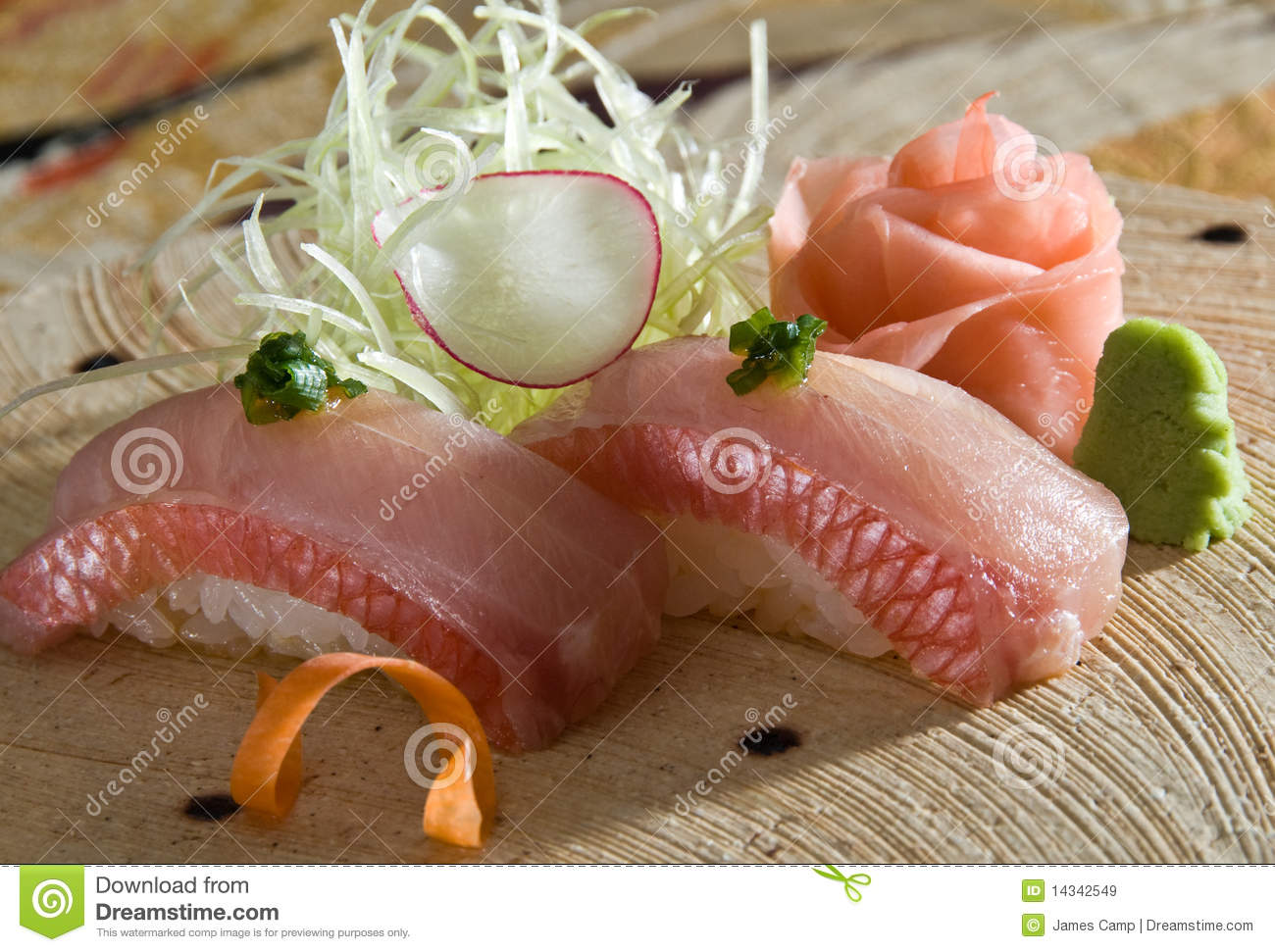 Yellowtail nigiri royalty free stock images image 14342549 for Yellowtail fish sushi