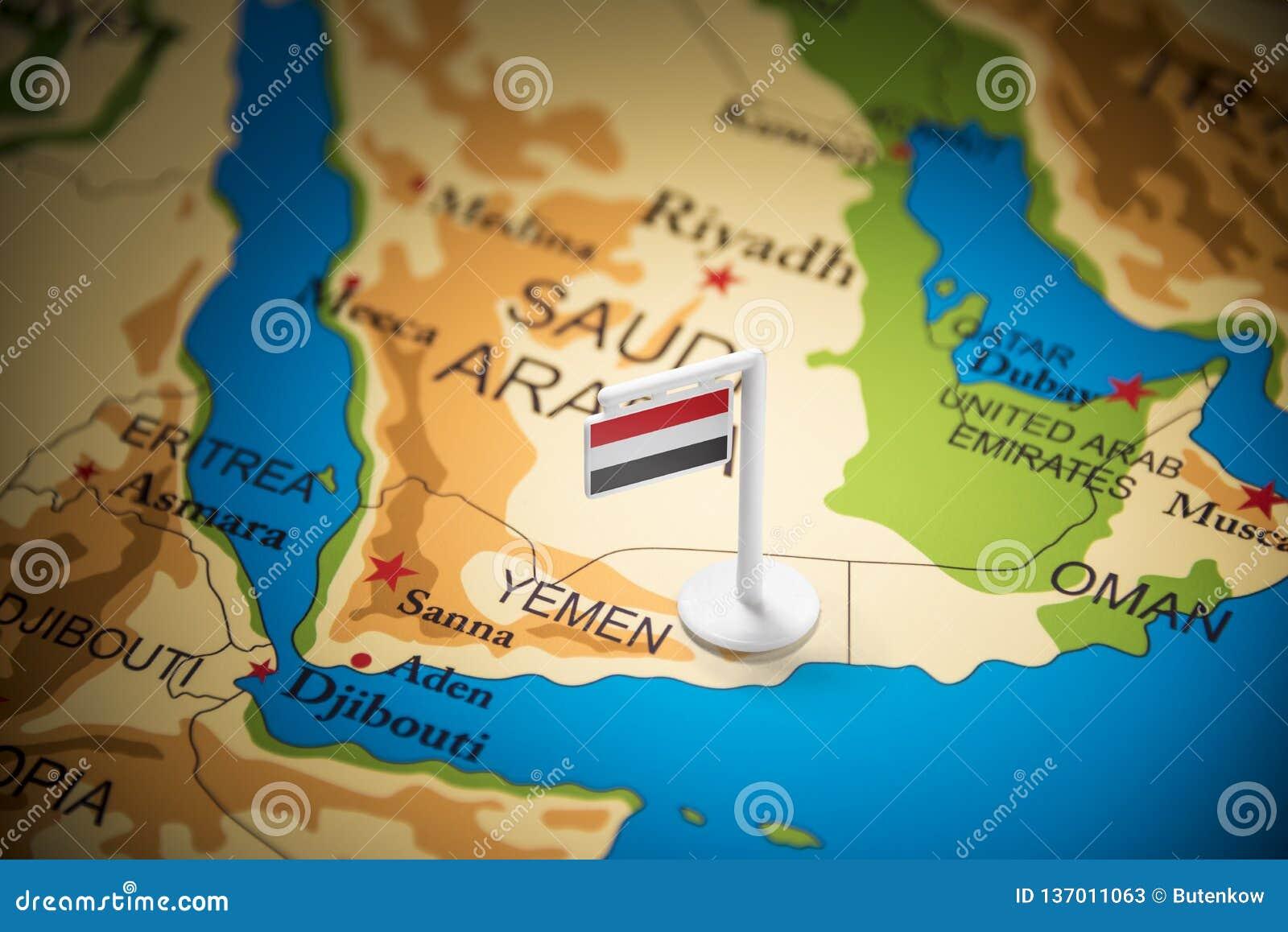 Yemení marcó con una bandera en el mapa