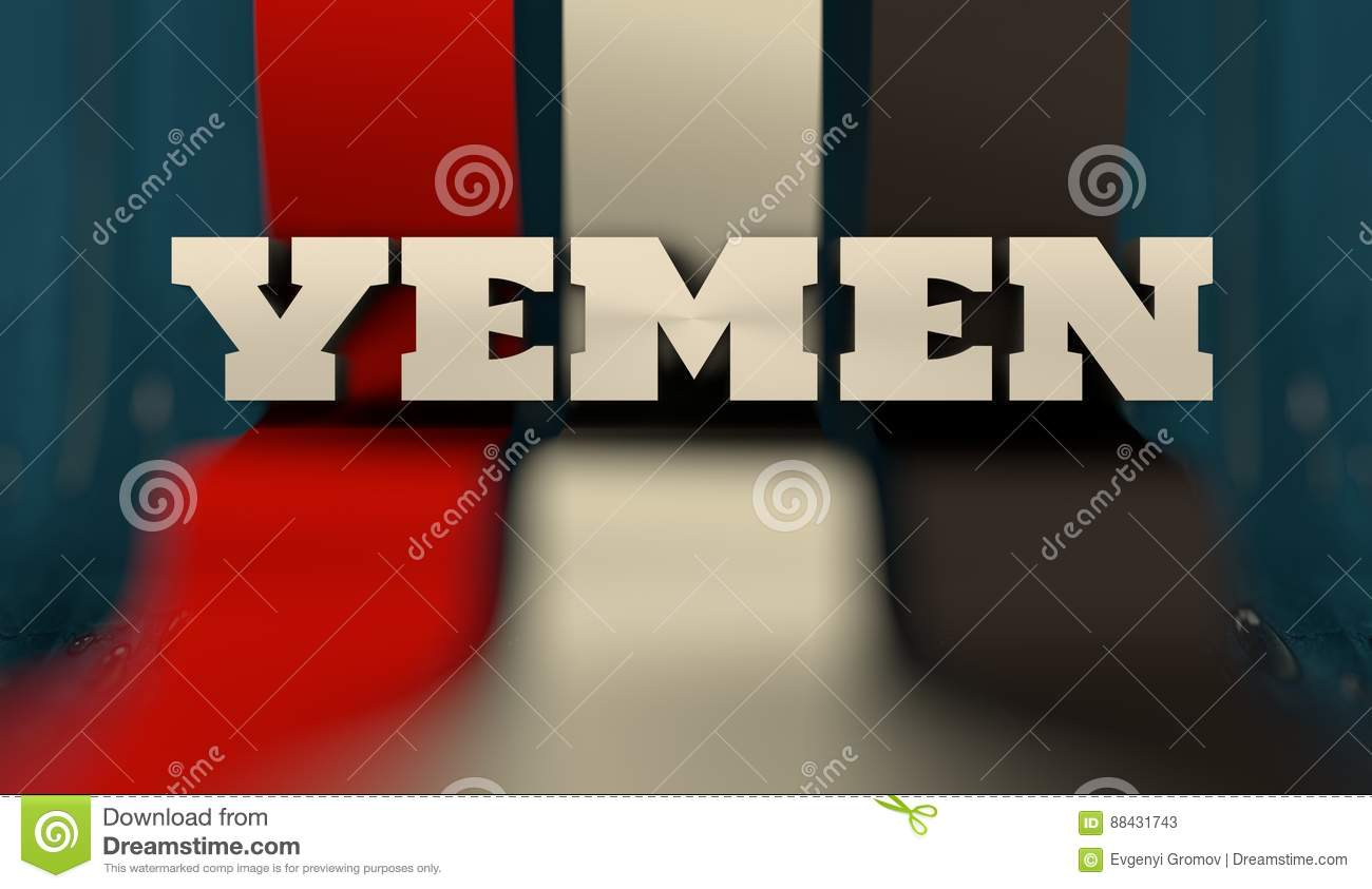 yemen flag design concept flag made from curved stripes country name image relative to travel and politic themes 3d rendering