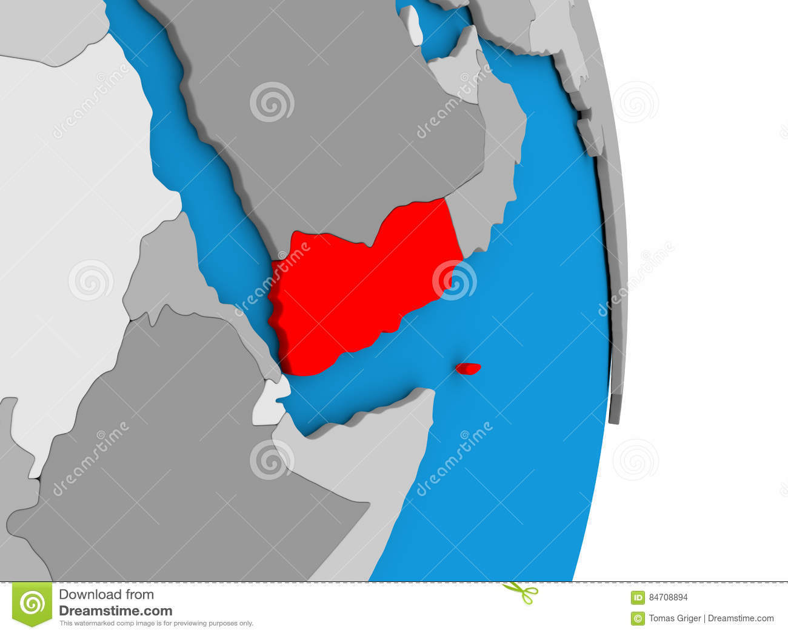 Yemen On Globe Stock Illustration Illustration Of Asia 84708894