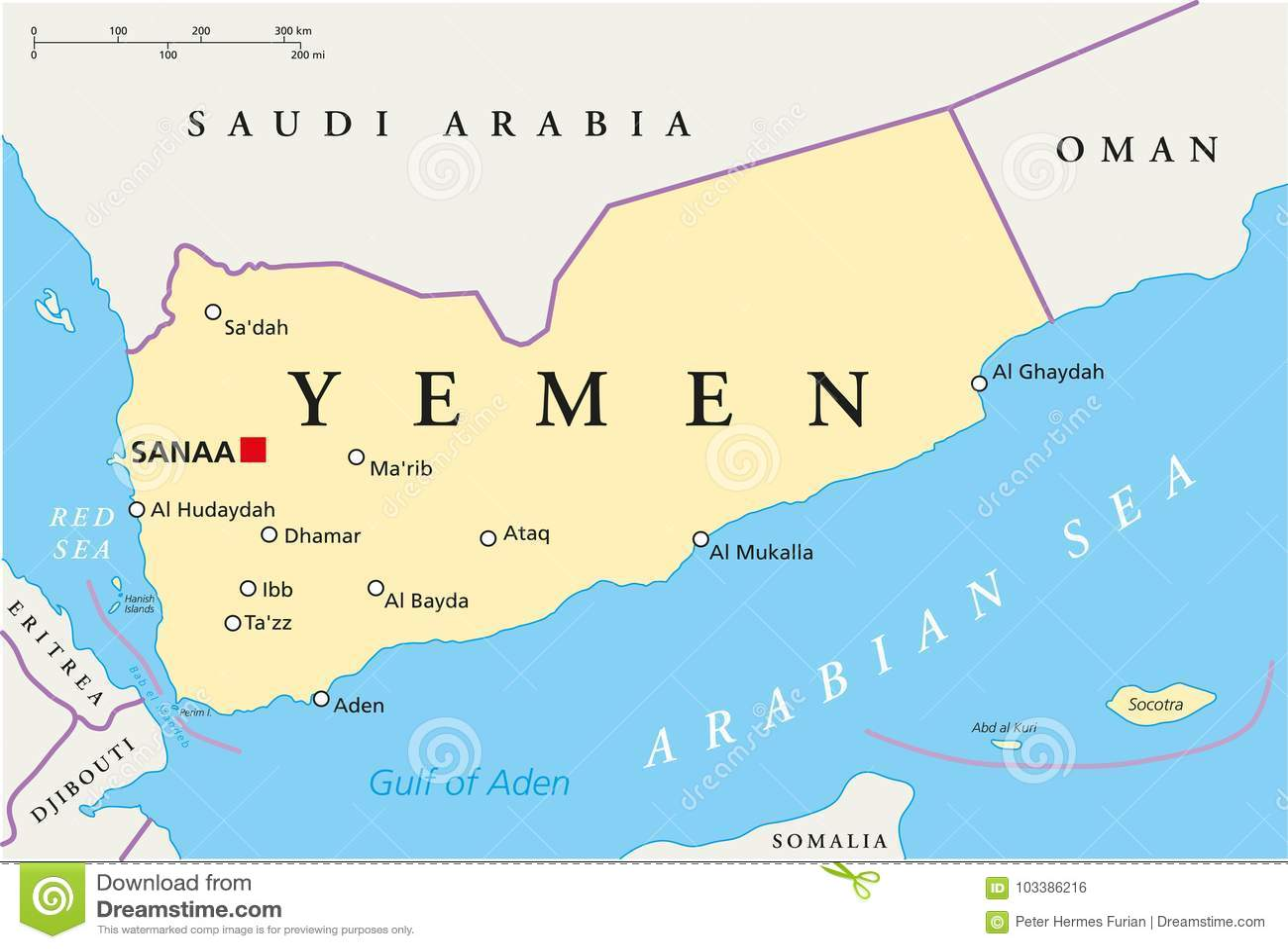 Political Map Of Yemen.Yemen Political Map Stock Vector Illustration Of Sanaa 103386216