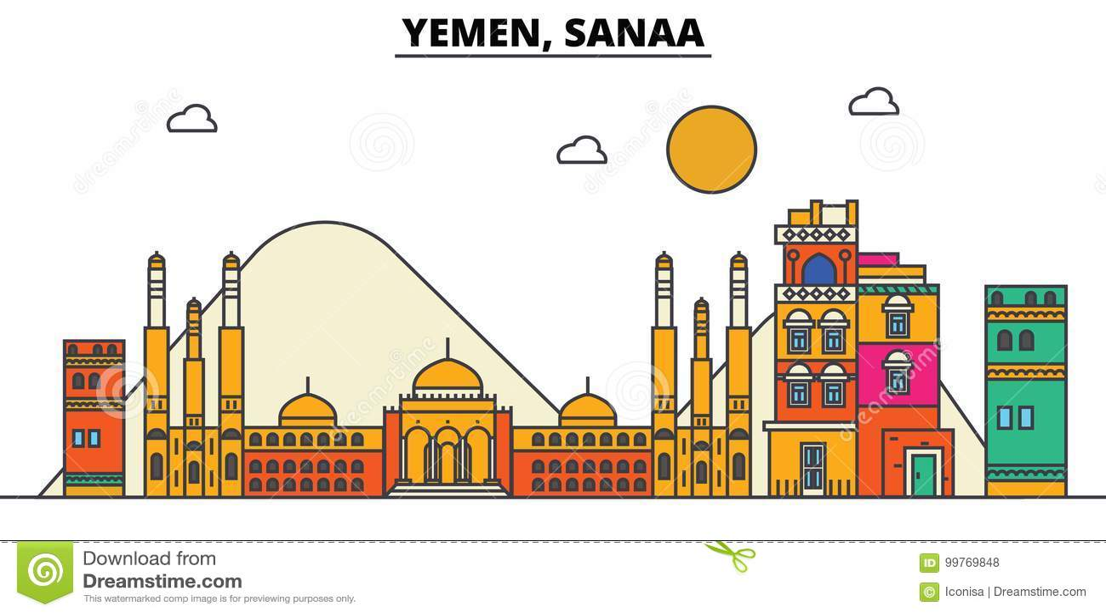 Yemen, Sanaa De architectuur van de stadshorizon editable