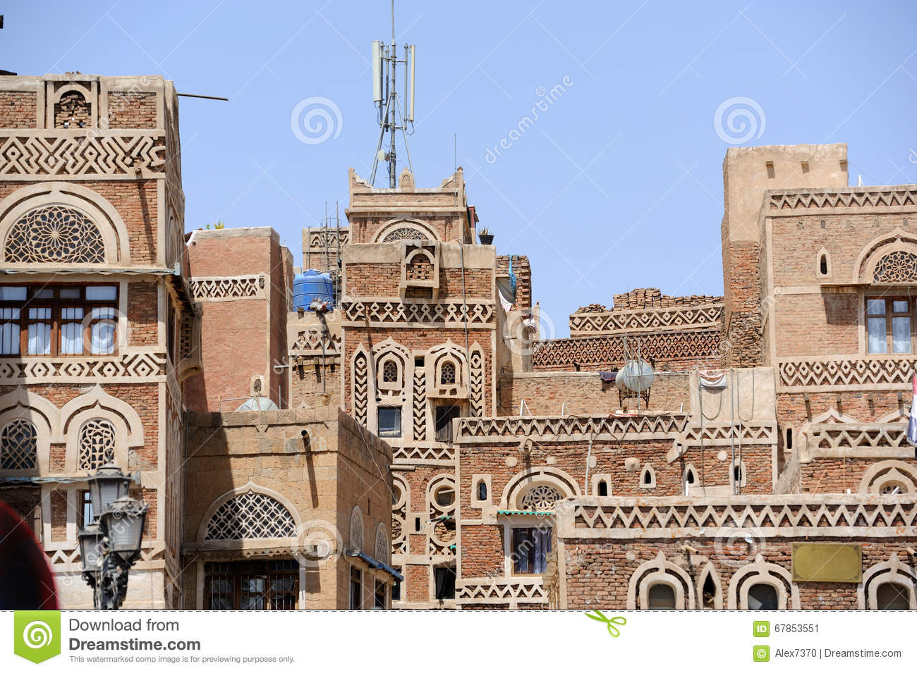 Yemen Traditional Architecture Of Old Town In Sanaa Stock