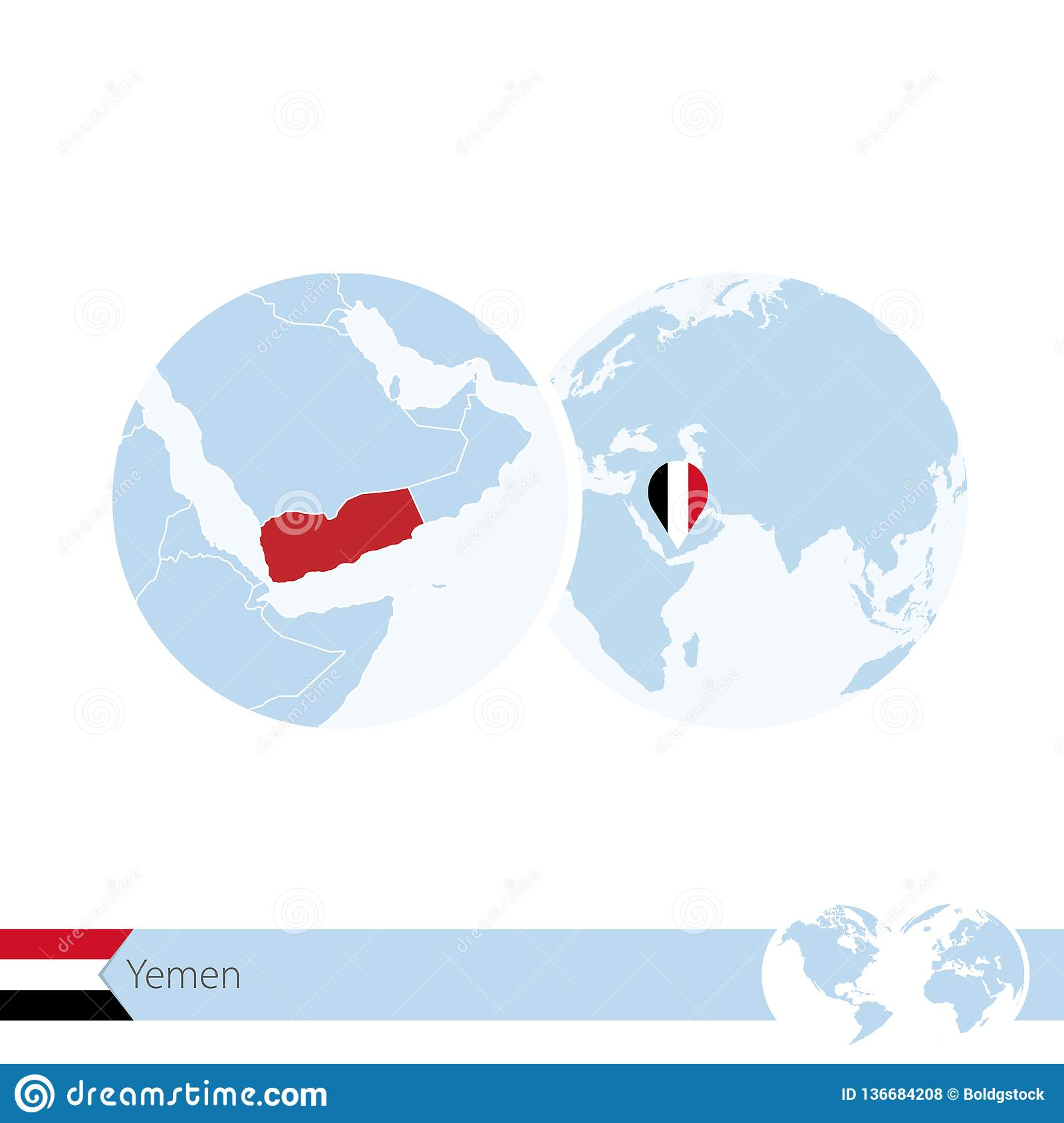 Yemen On World Globe With Flag And Regional Map Of Yemen Stock