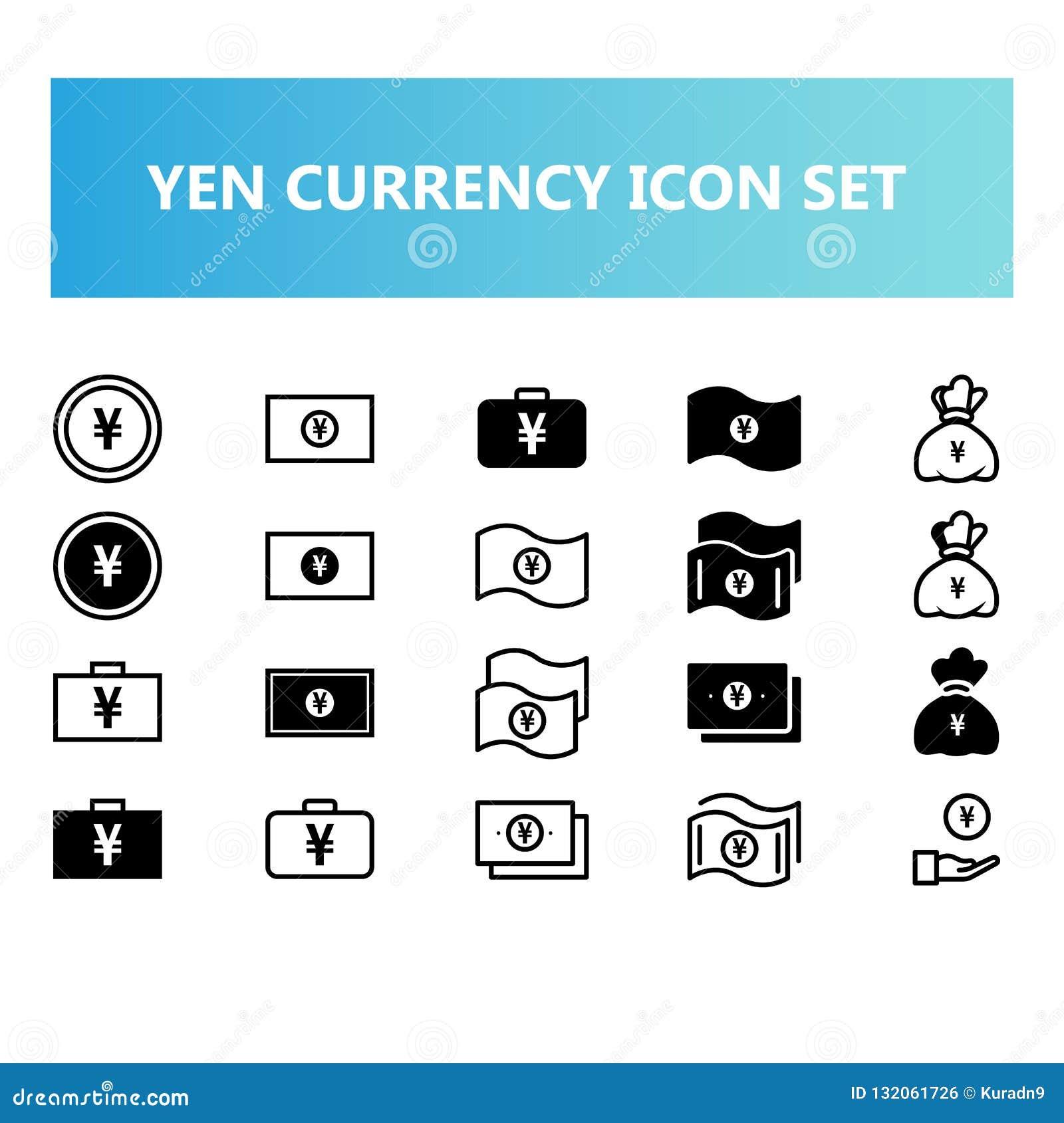 Yen Japan-het muntpictogram plaatste in vast lichaam en schetst stijl