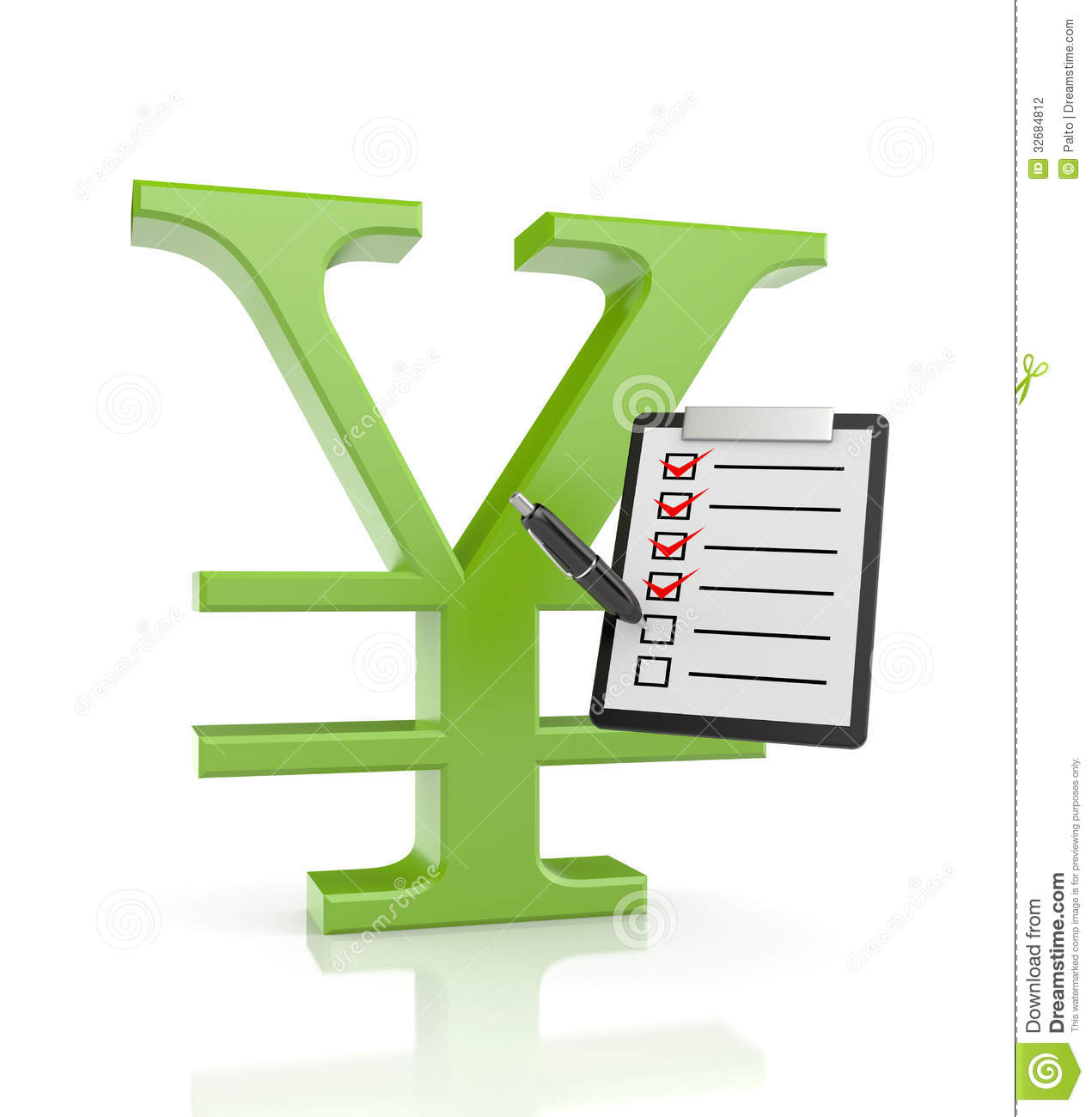 YEN Sign With Clipboard And Pen Stock Photography - Image ...