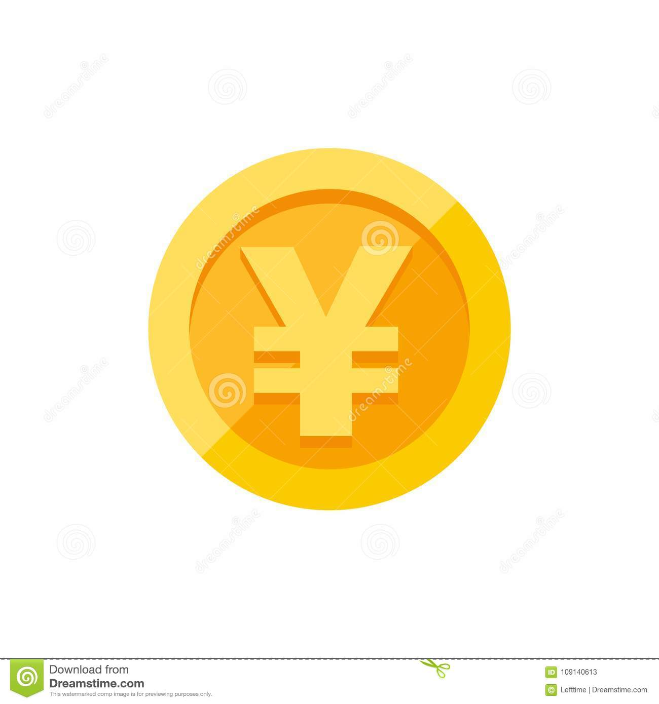 Yen Symbol On Gold Coin Flat Style Stock Vector Illustration Of