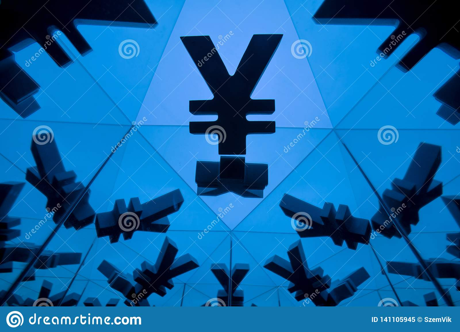 Yen or Yuan Currency Symbol With Many Mirroring Images